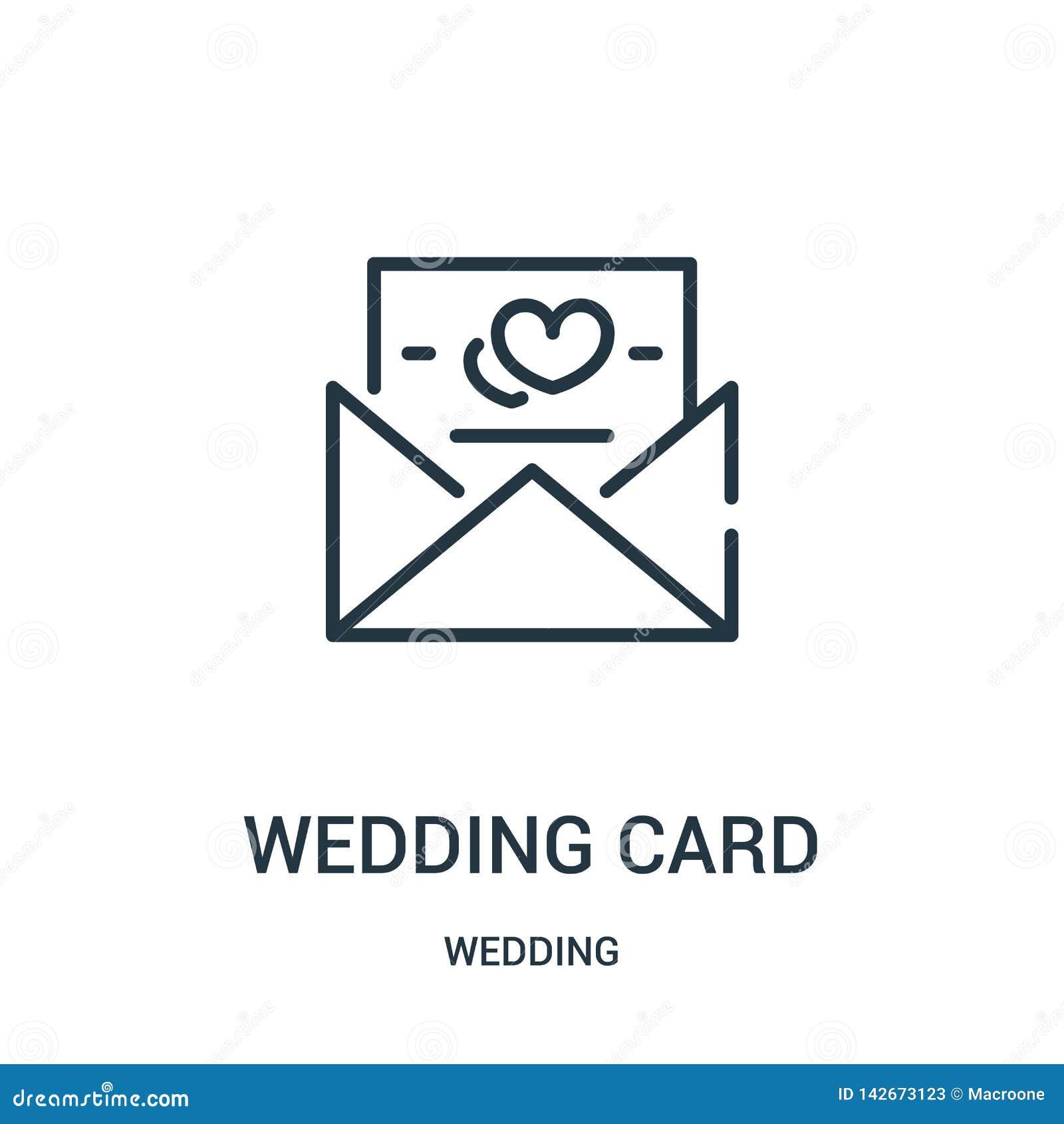 Vetor do ícone do cartão de casamento da coleção do casamento Linha fina ilustração do vetor do ícone do esboço do cartão de casa