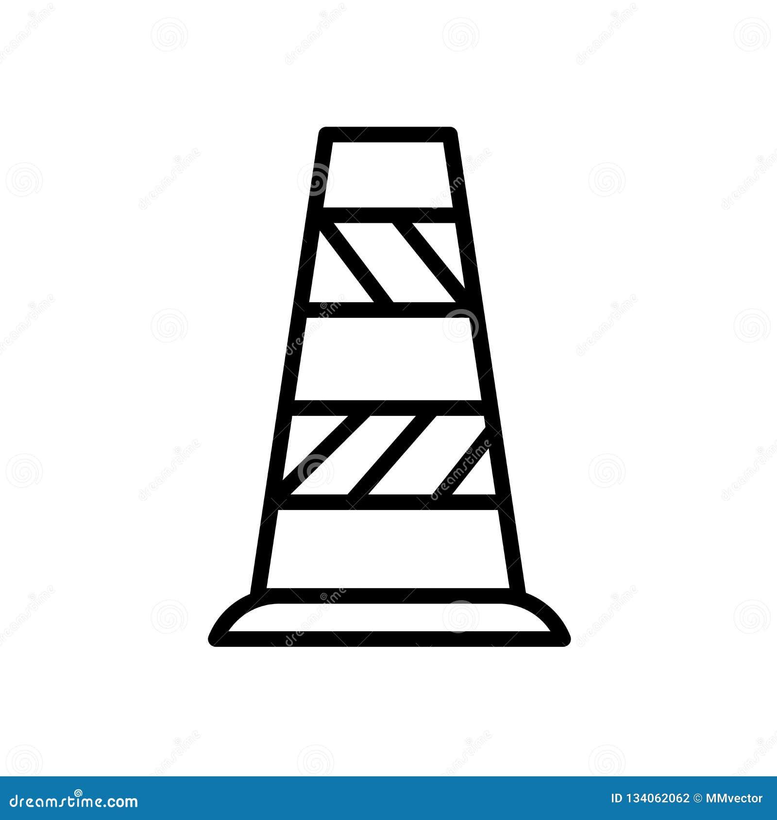 Vetor do ícone do cone do tráfego isolado no sinal branco do fundo, do cone do tráfego, no símbolo linear e nos elementos do proj