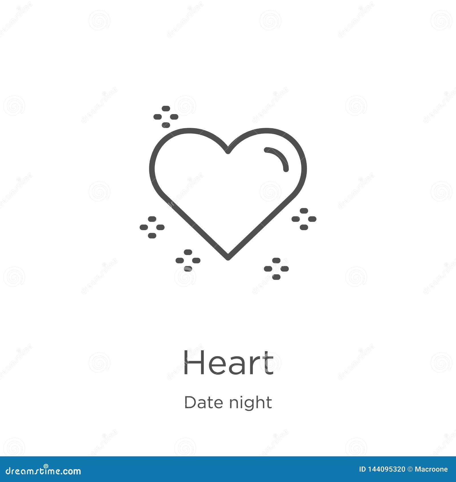 Vetor do ícone do coração da coleção da noite da data Linha fina ilustração do vetor do ícone do esboço do coração Esboço, linha