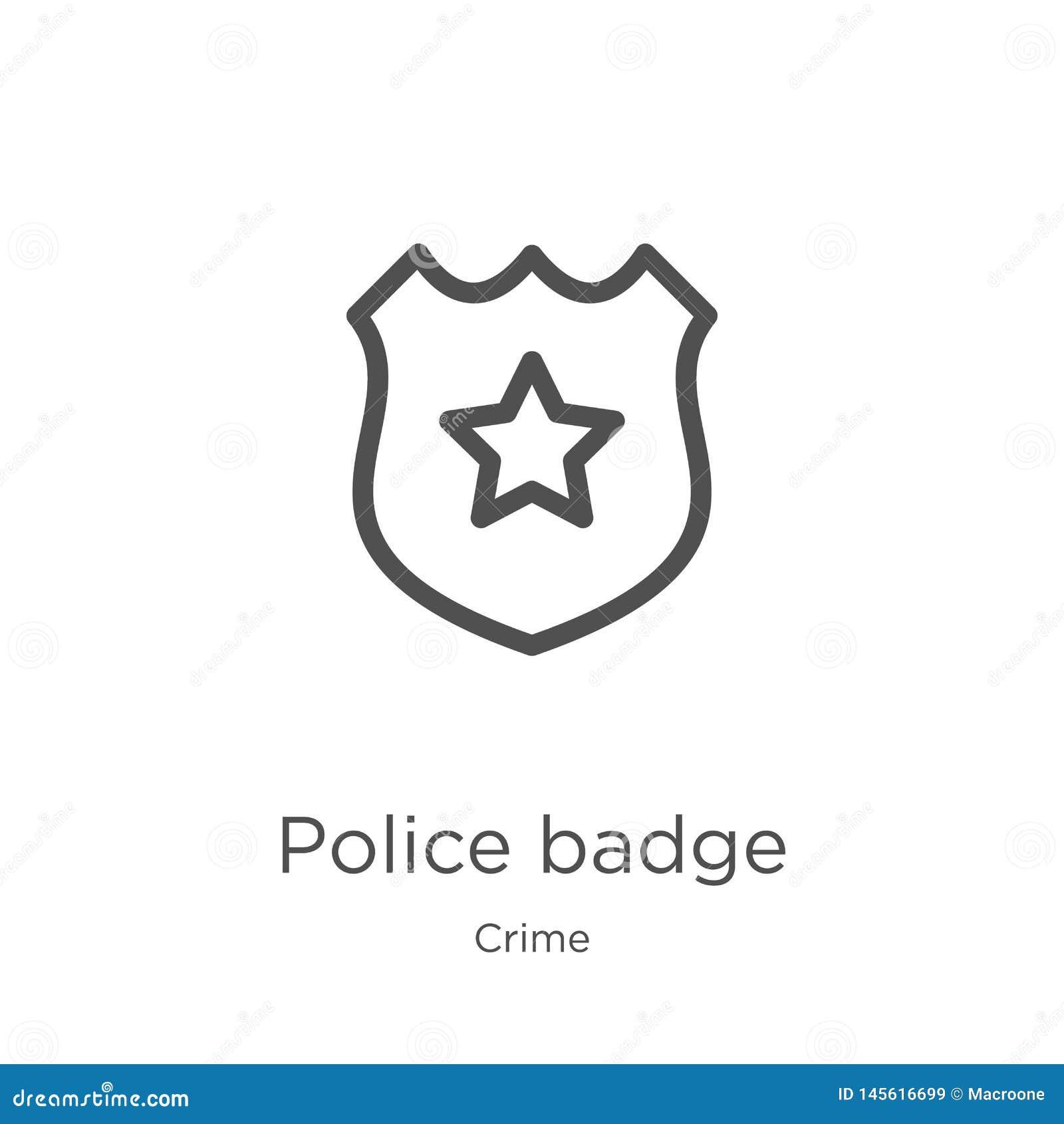 Vetor do ícone do crachá da polícia da coleção do crime Linha fina ilustração do vetor do ícone do esboço do crachá da polícia Es
