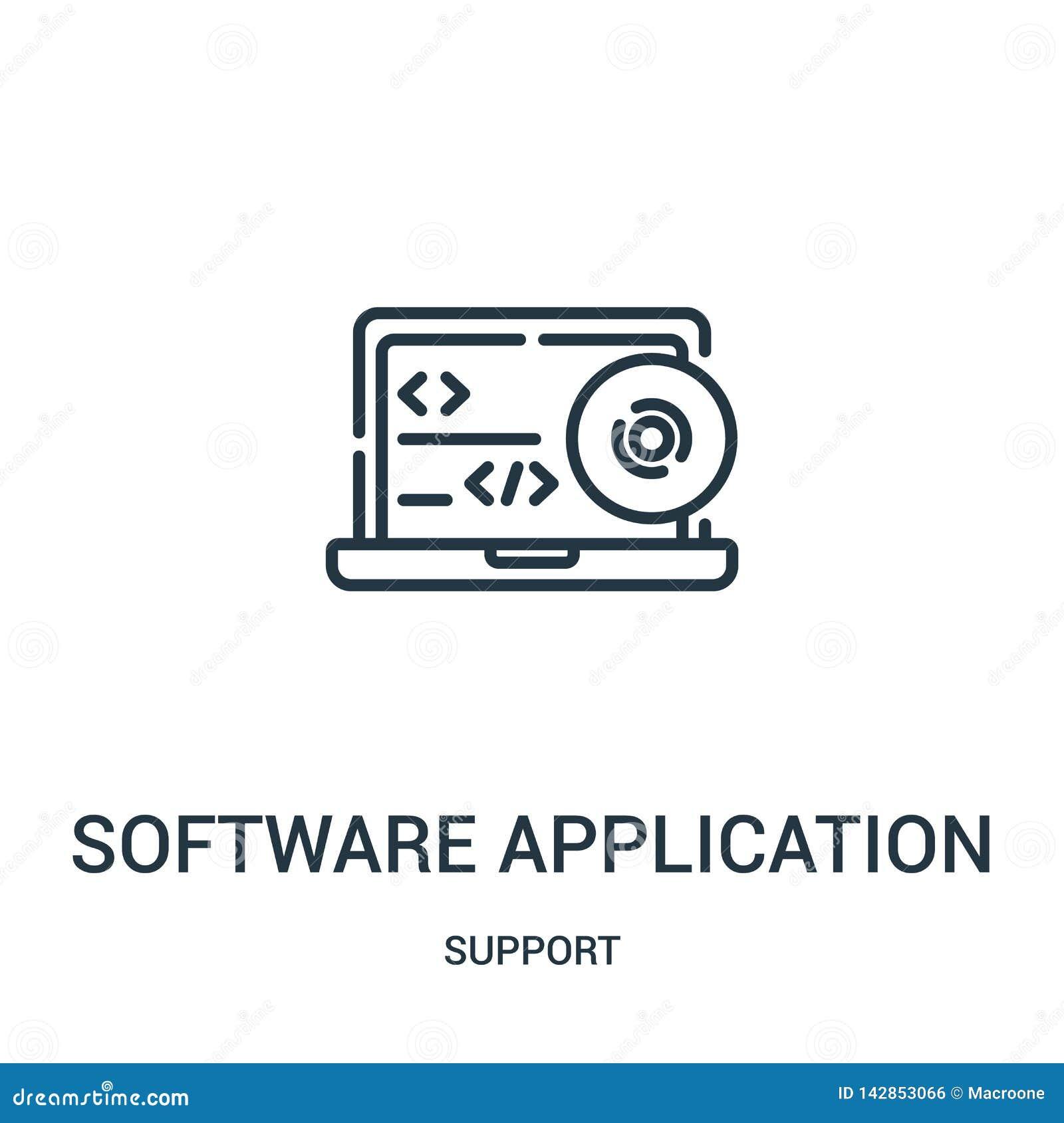 Vetor do ícone da aplicação de software da coleção do apoio Linha fina ilustração do vetor do ícone do esboço da aplicação de sof