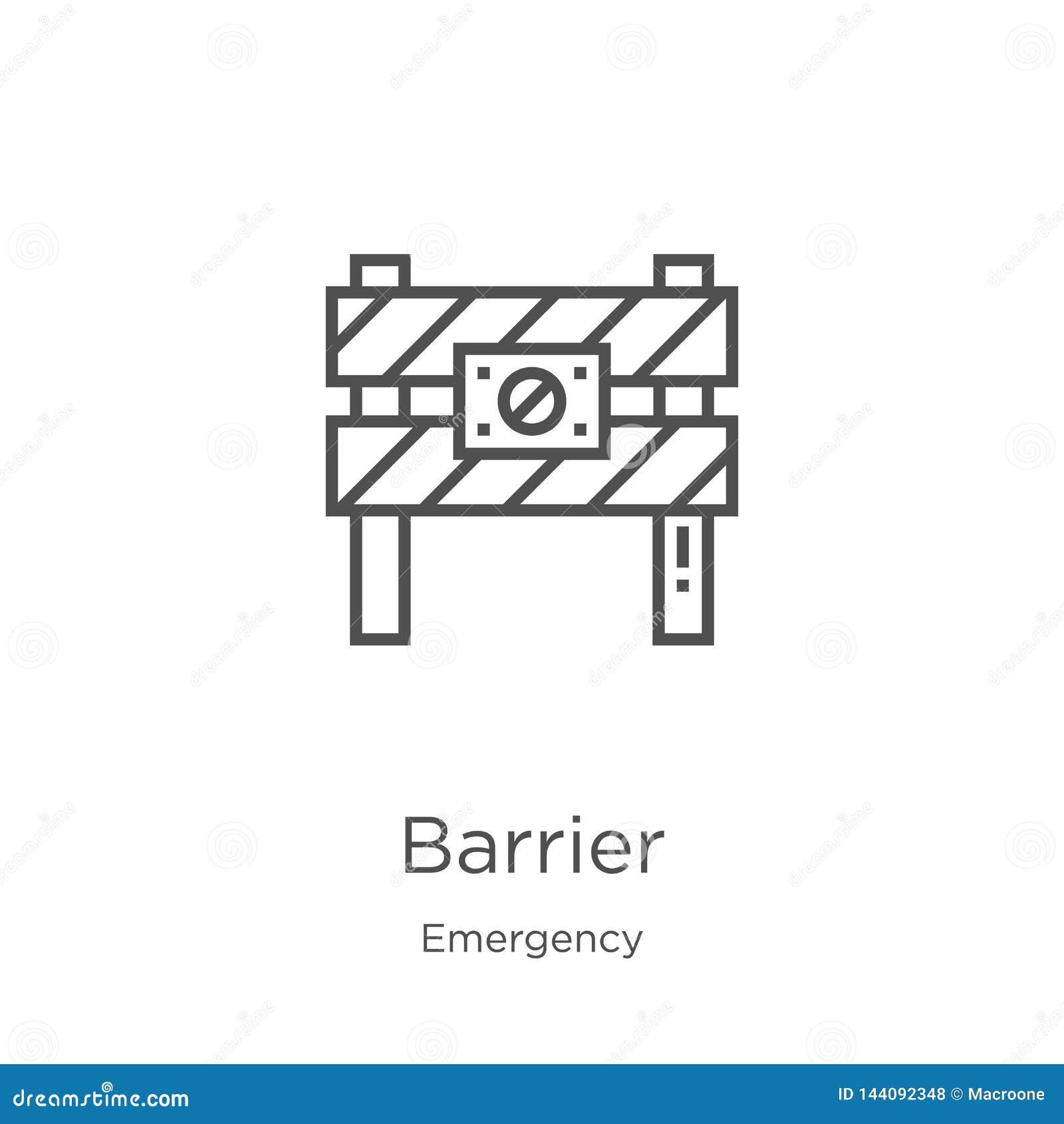 Vetor do ícone da barreira da coleção da emergência Linha fina ilustra??o do vetor do ?cone do esbo?o da barreira Esbo?o, linha f