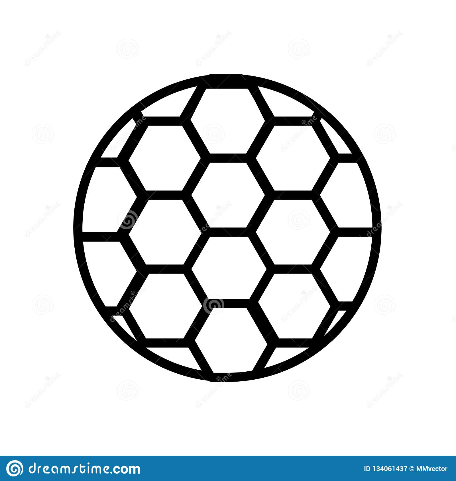 Vetor do ícone da bola do futebol do futebol isolado no fundo branco, no sinal da bola do futebol do futebol, no símbolo linear e