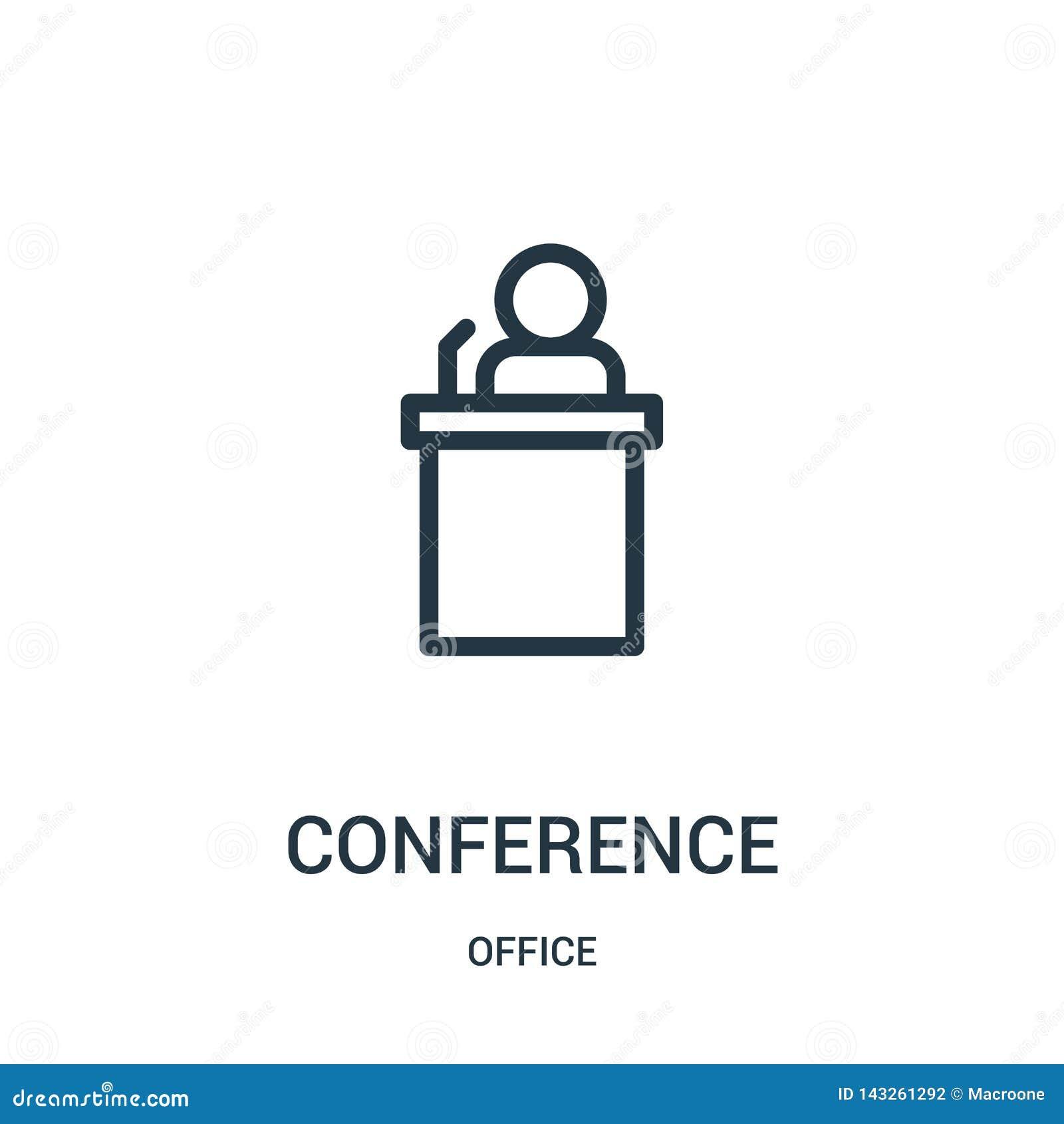 Vetor do ícone da conferência da coleção do escritório Linha fina ilustra??o do vetor do ?cone do esbo?o da confer?ncia