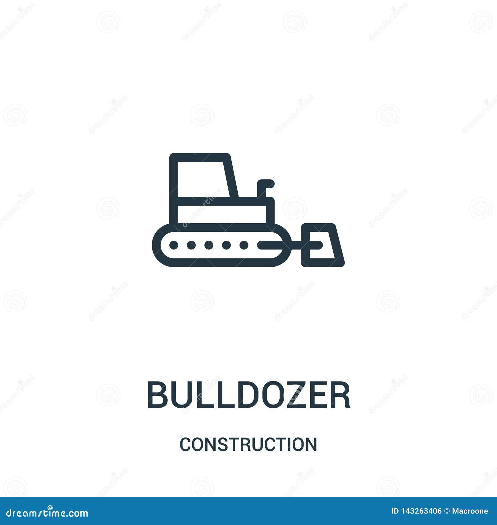 Vetor do ícone da escavadora da coleção da construção Linha fina ilustração do vetor do ícone do esboço da escavadora