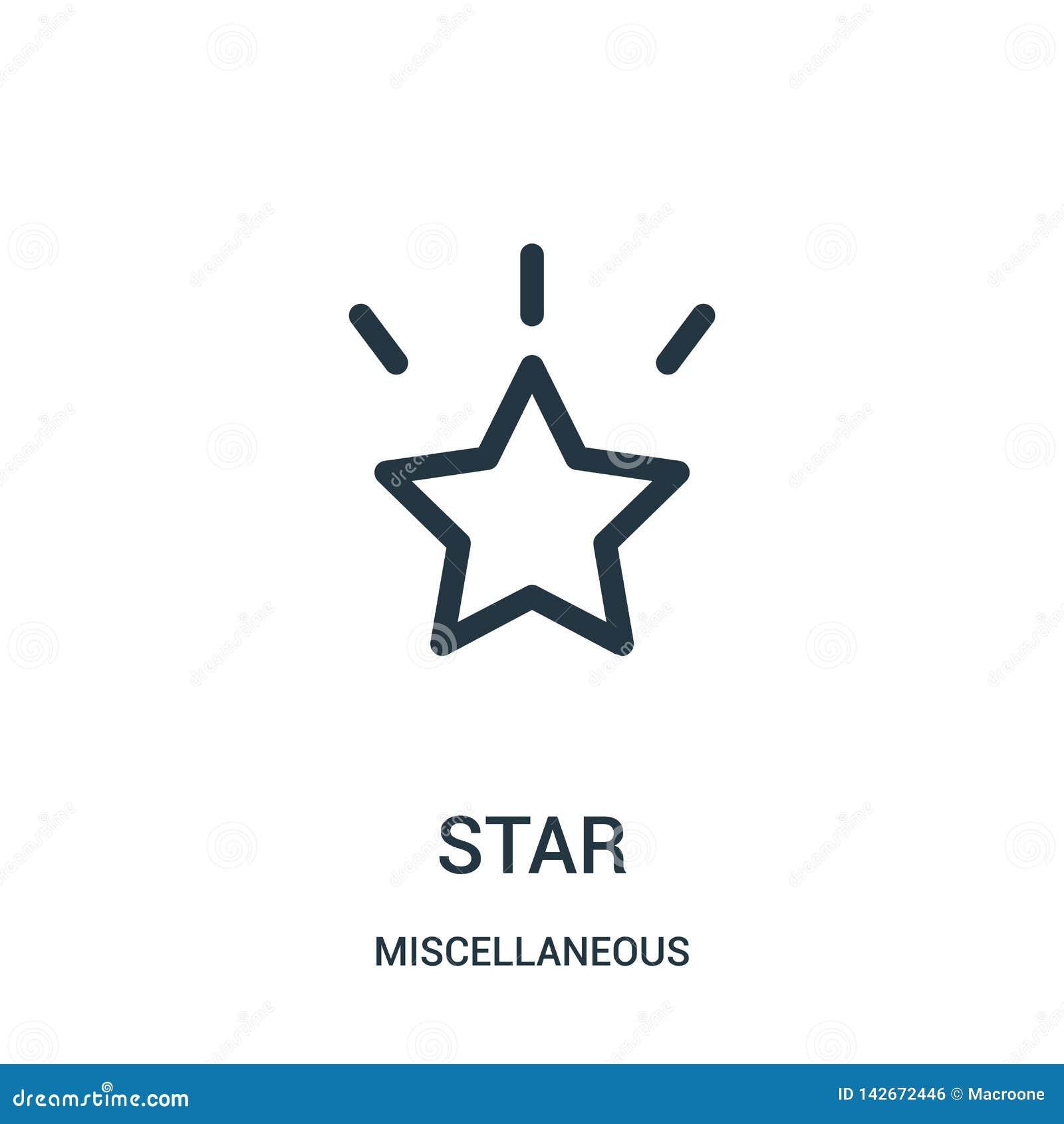 Vetor do ícone da estrela da coleção variada Linha fina ilustração do vetor do ícone do esboço da estrela Símbolo linear para o u