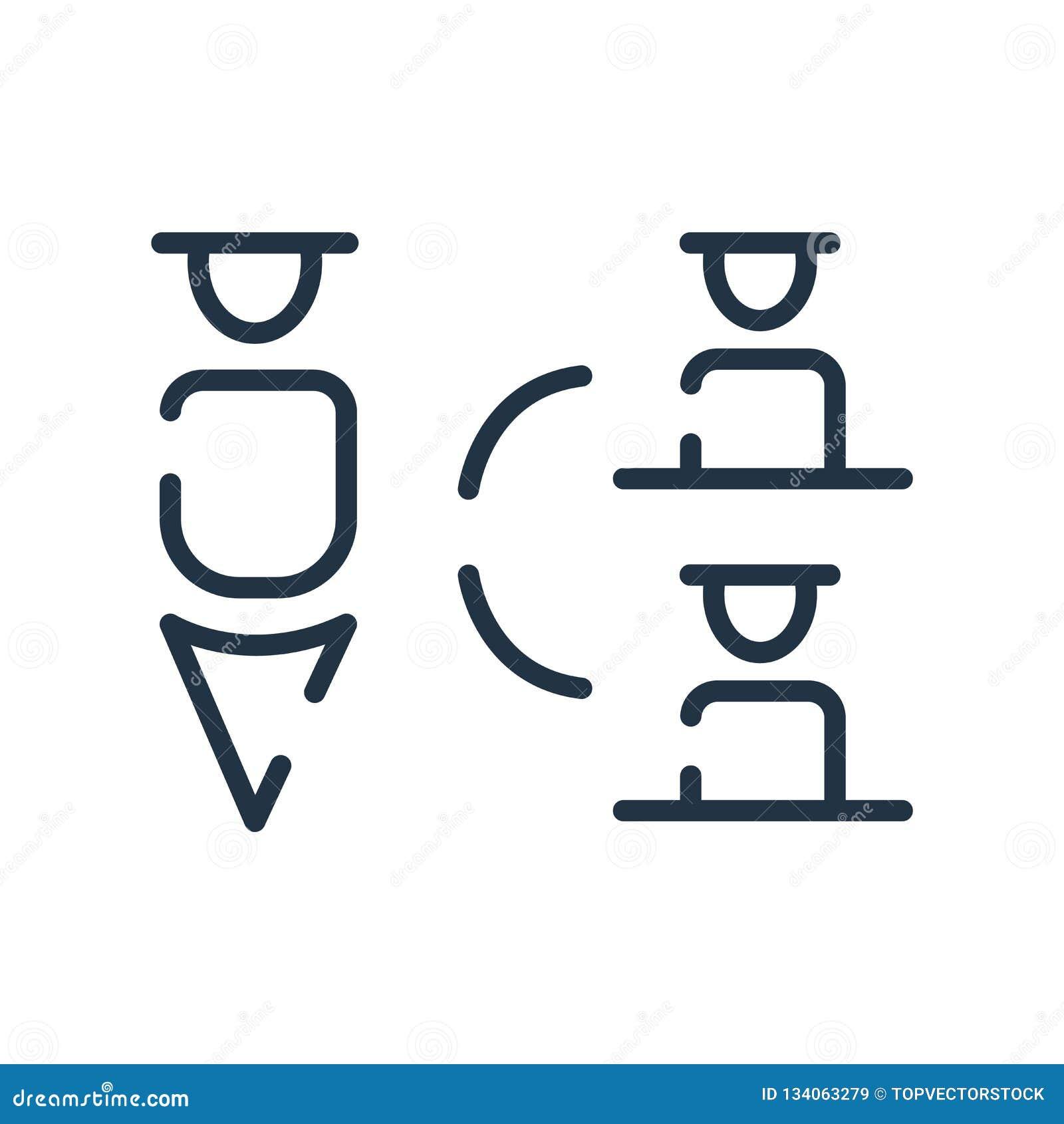 Vetor do ícone da estrutura hierárquica isolado no fundo branco, no sinal da estrutura hierárquica, na linha símbolo ou no elemen
