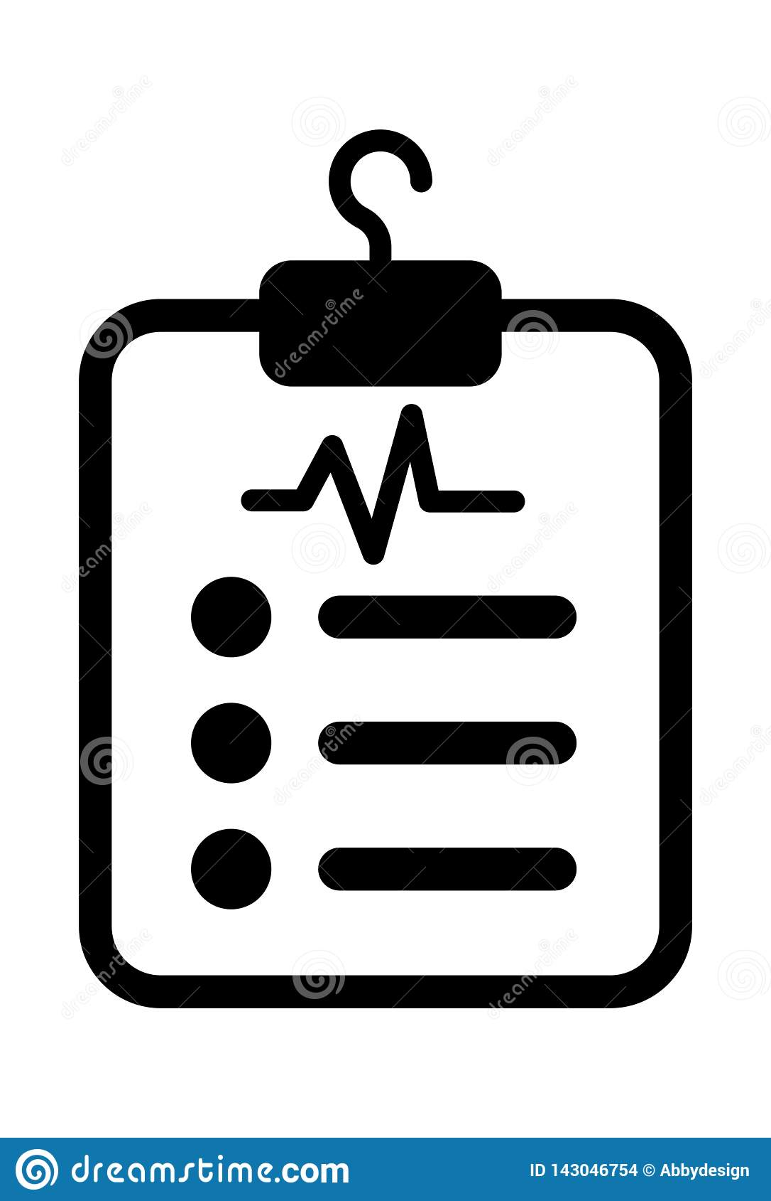Vetor do ícone da folha do relatório médico