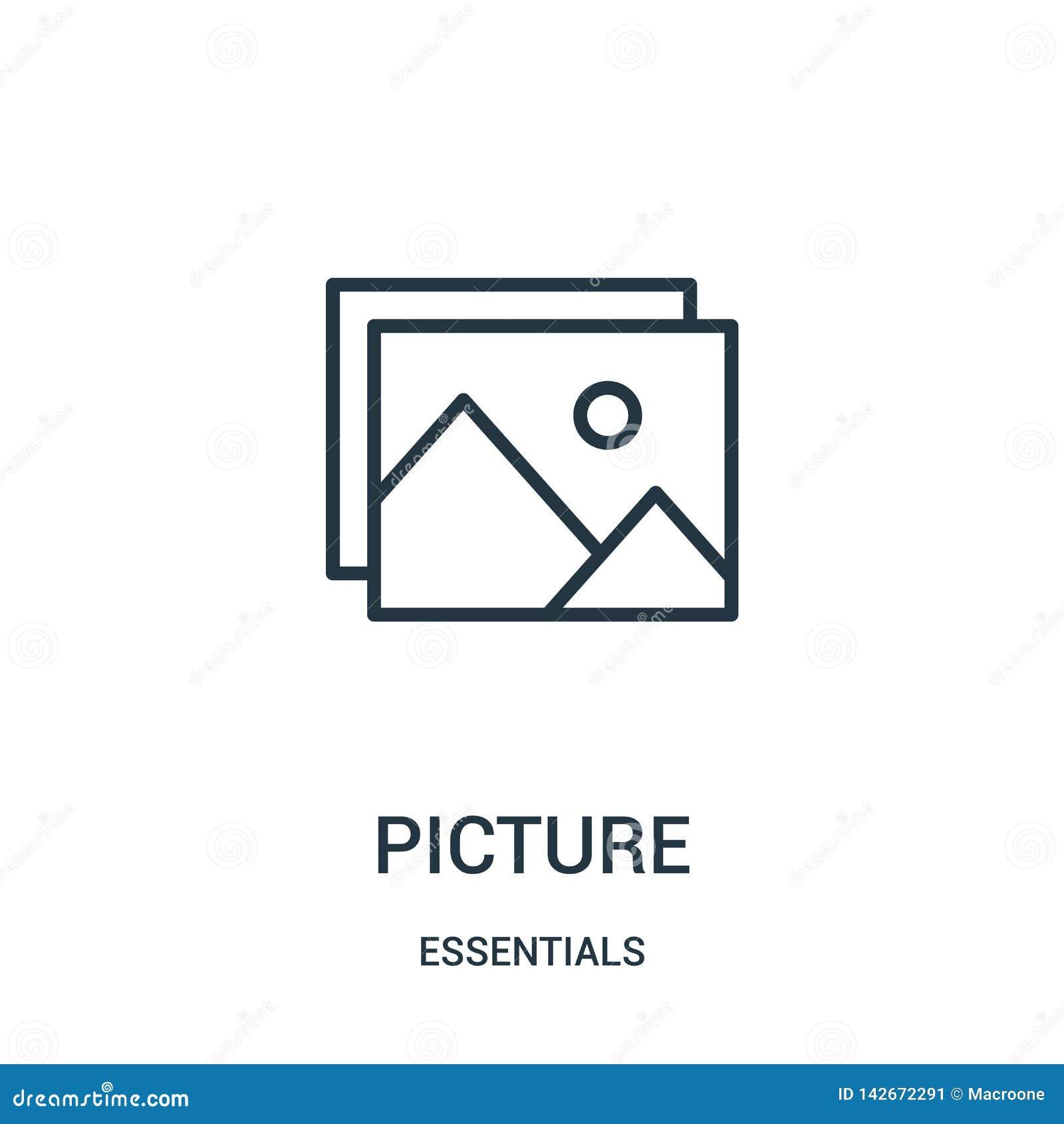 Vetor do ícone da imagem da coleção dos fundamentos Linha fina ilustração do vetor do ícone do esboço da imagem Símbolo linear pa