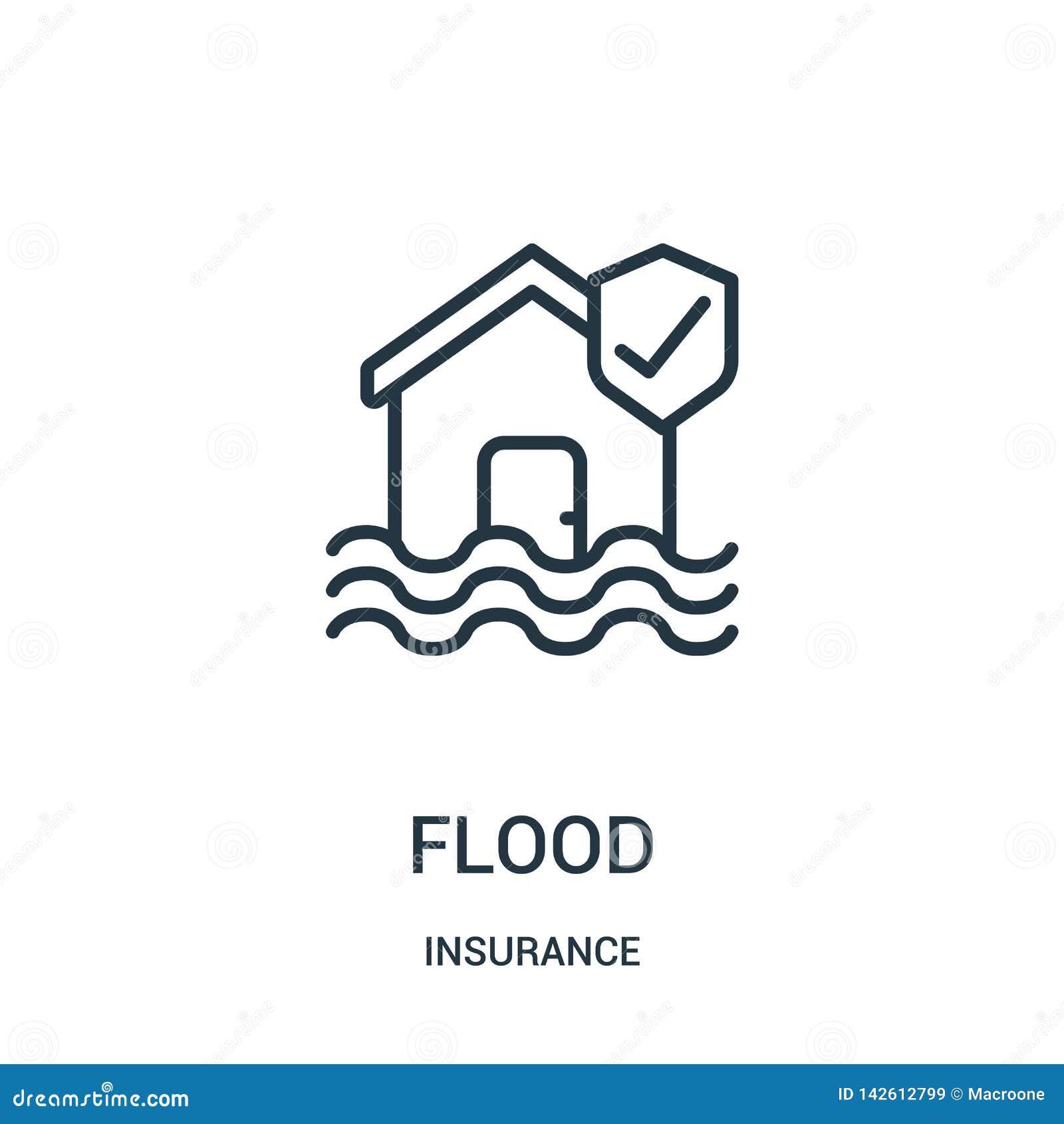 Vetor do ícone da inundação da coleção do seguro Linha fina ilustra??o do vetor do ?cone do esbo?o da inunda??o S?mbolo linear
