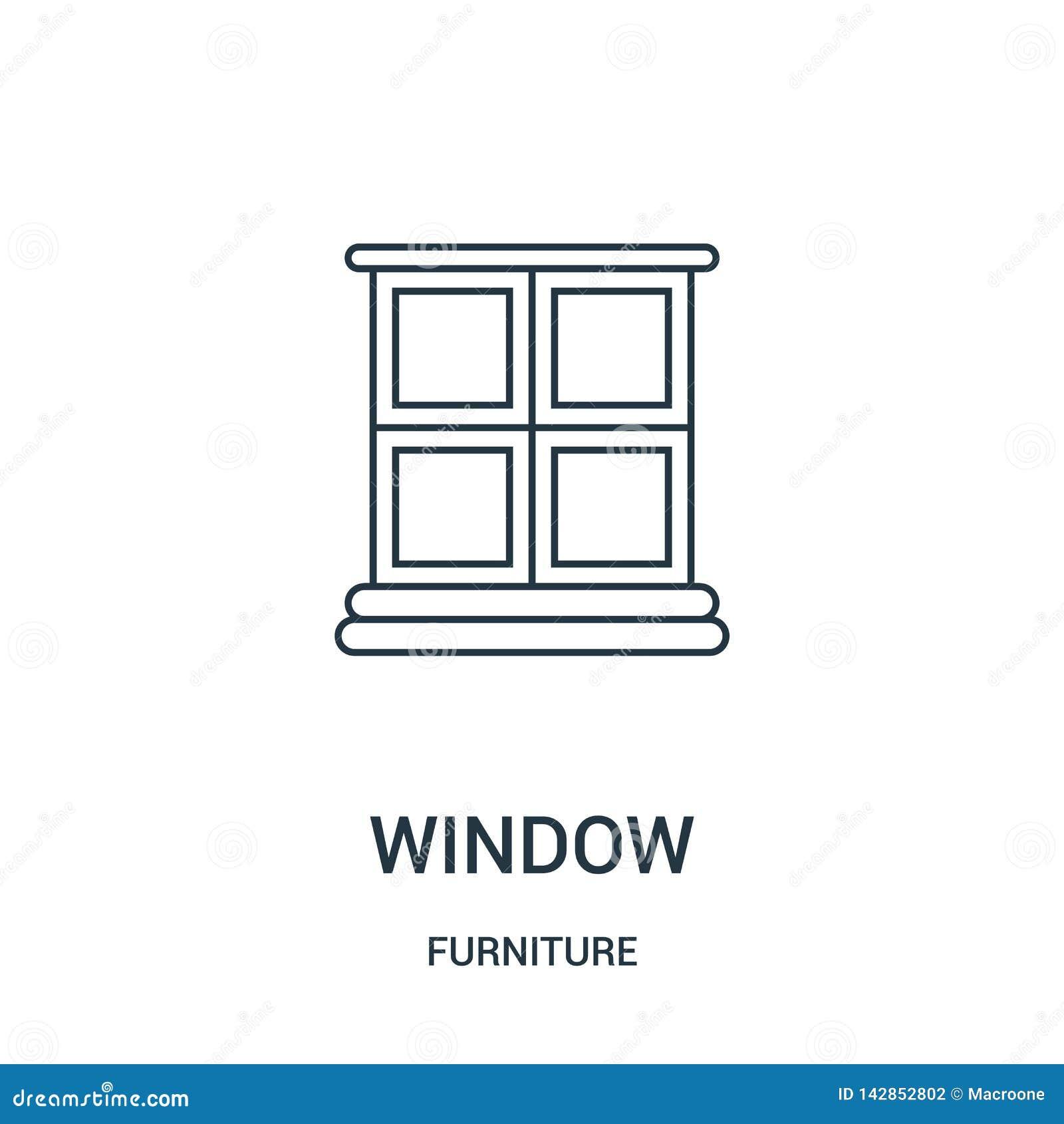 Vetor do ícone da janela da coleção da mobília Linha fina ilustração do vetor do ícone do esboço da janela Símbolo linear para o