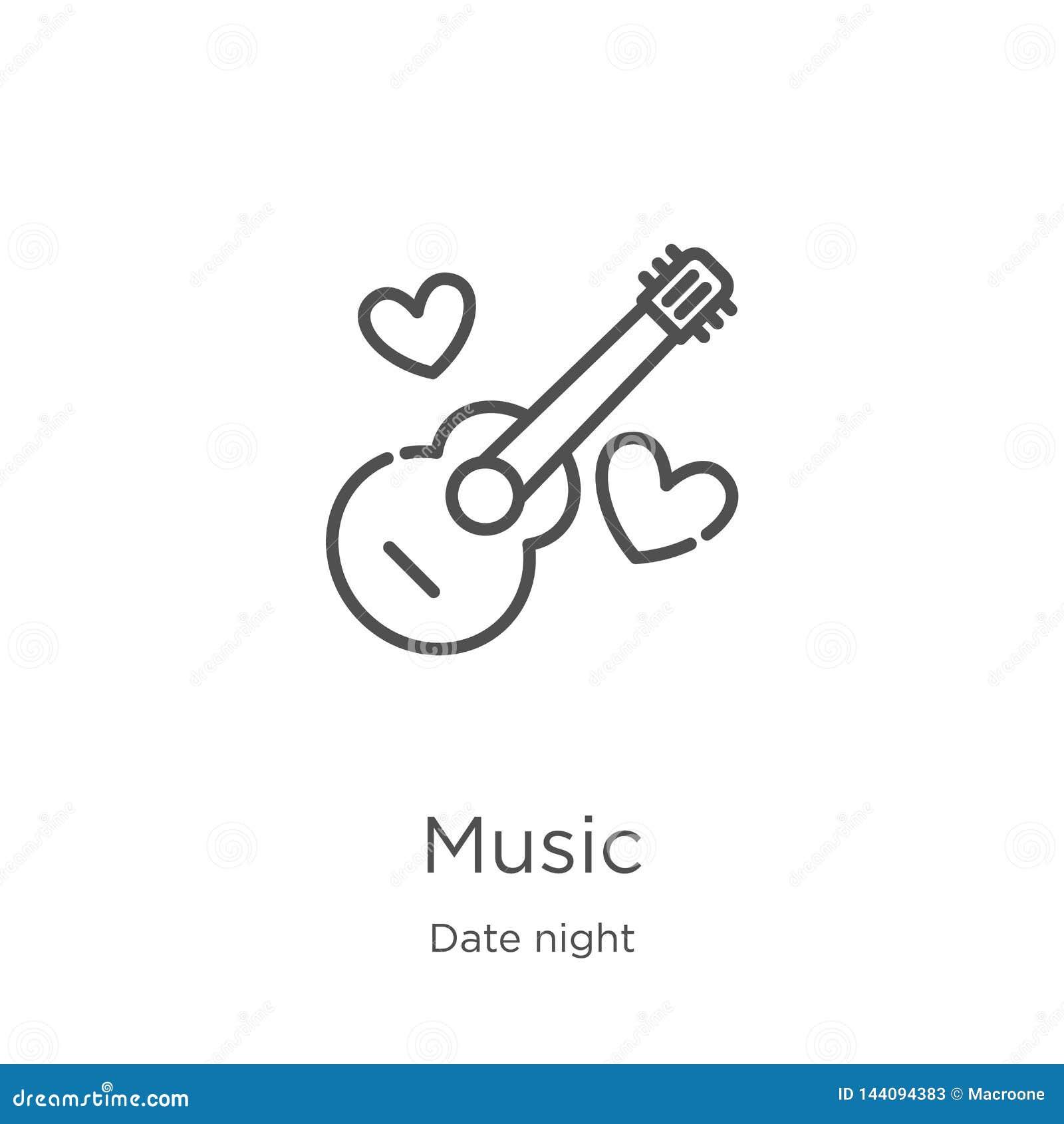 Vetor do ícone da música da coleção da noite da data Linha fina ilustração do vetor do ícone do esboço da música Esboço, linha fi