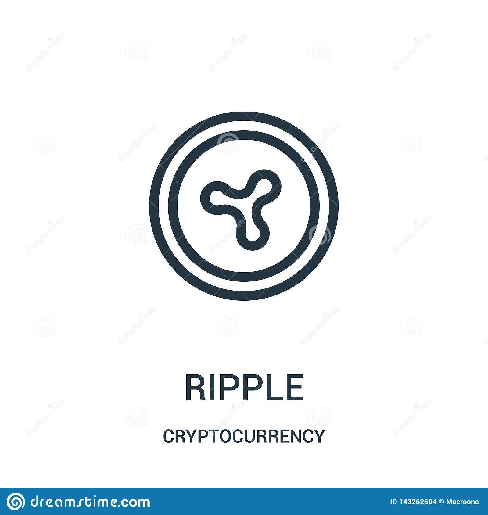 Vetor do ícone da ondinha da coleção do cryptocurrency Linha fina ilustração do vetor do ícone do esboço da ondinha