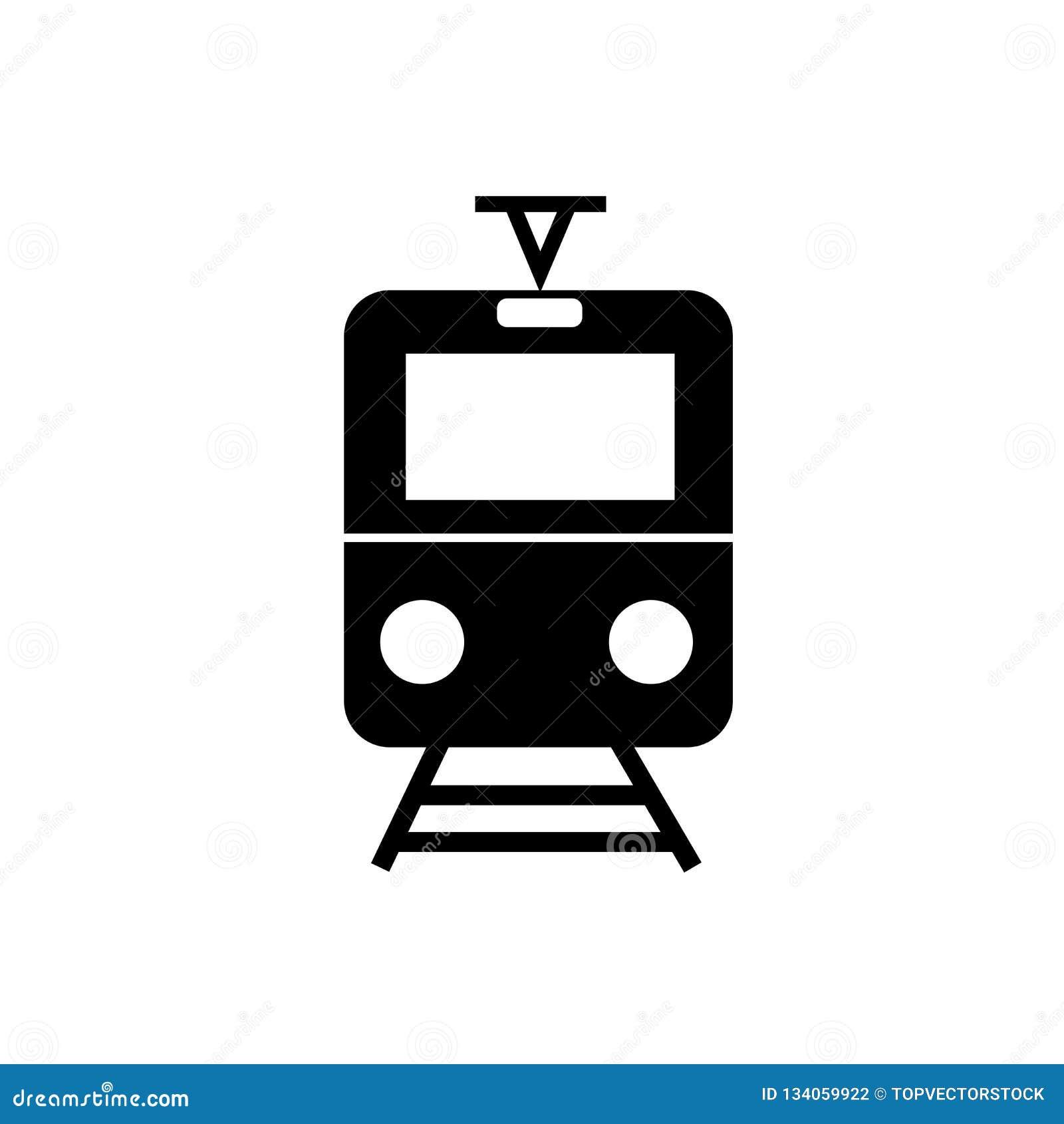 Vetor do ícone da parada do bonde isolado no fundo branco, sinal da parada do bonde