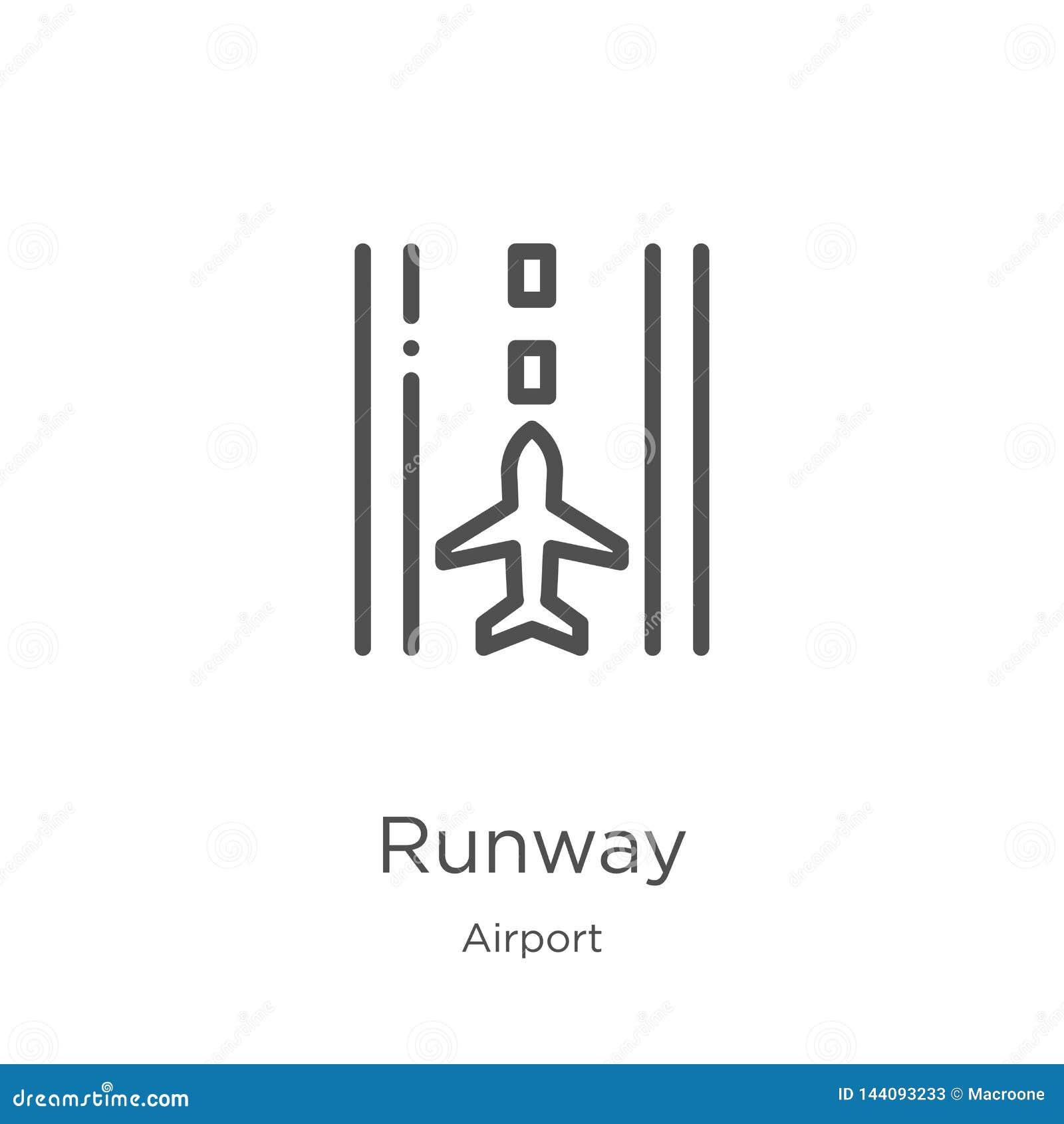 Vetor do ícone da pista de decolagem da coleção do aeroporto Linha fina ilustração do vetor do ícone do esboço da pista de decola