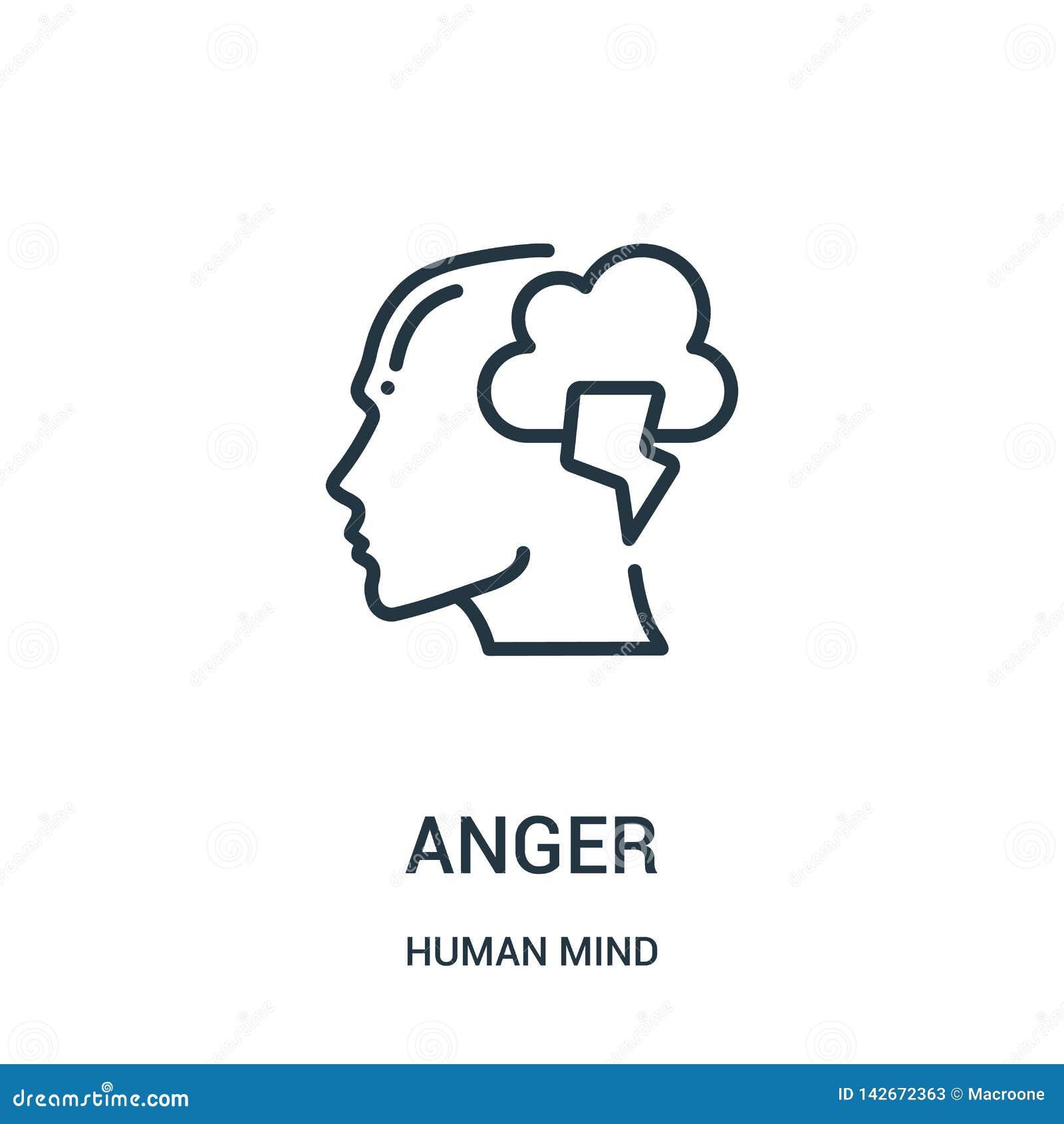 Vetor do ícone da raiva da coleção da mente humana Linha fina ilustração do vetor do ícone do esboço da raiva Símbolo linear para