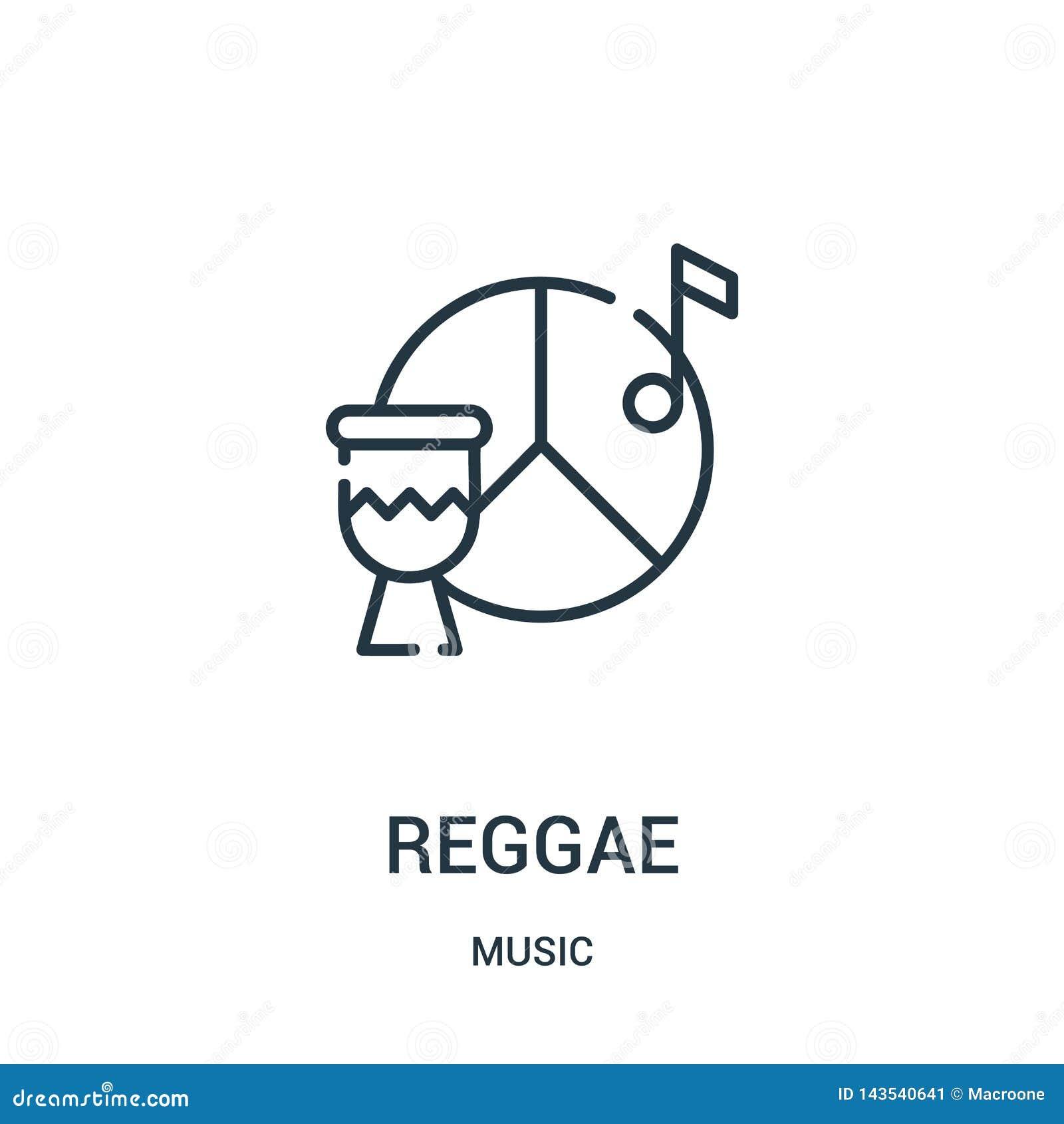 Vetor do ícone da reggae da coleção da música Linha fina ilustração do vetor do ícone do esboço da reggae