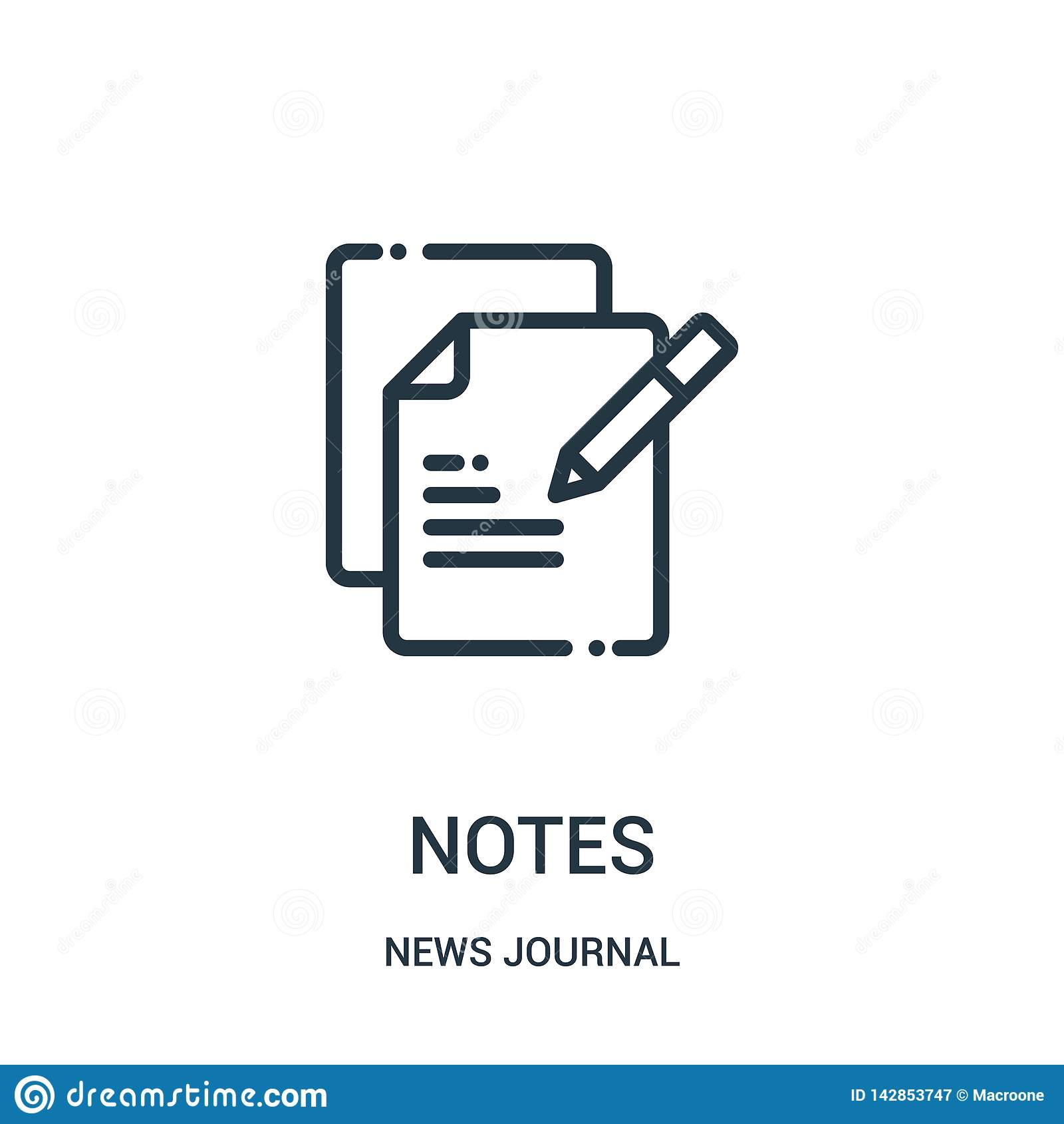 Vetor do ícone das notas da coleção do jornal da notícia A linha fina nota a ilustração do vetor do ícone do esboço Símbolo linea