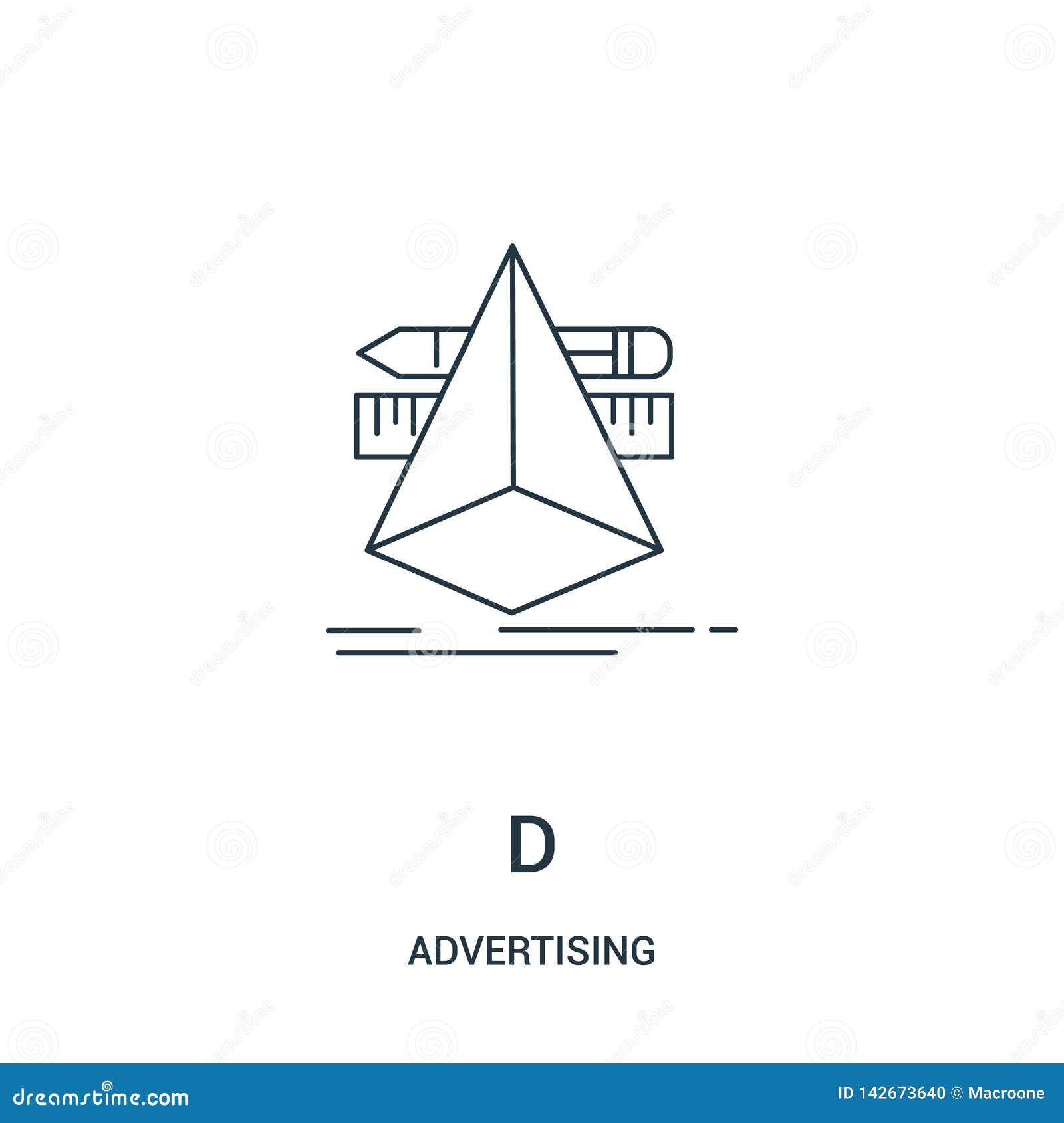 Vetor do ícone de d de anunciar a coleção Linha fina ilustração do vetor do ícone do esboço de d Símbolo linear para o uso na Web