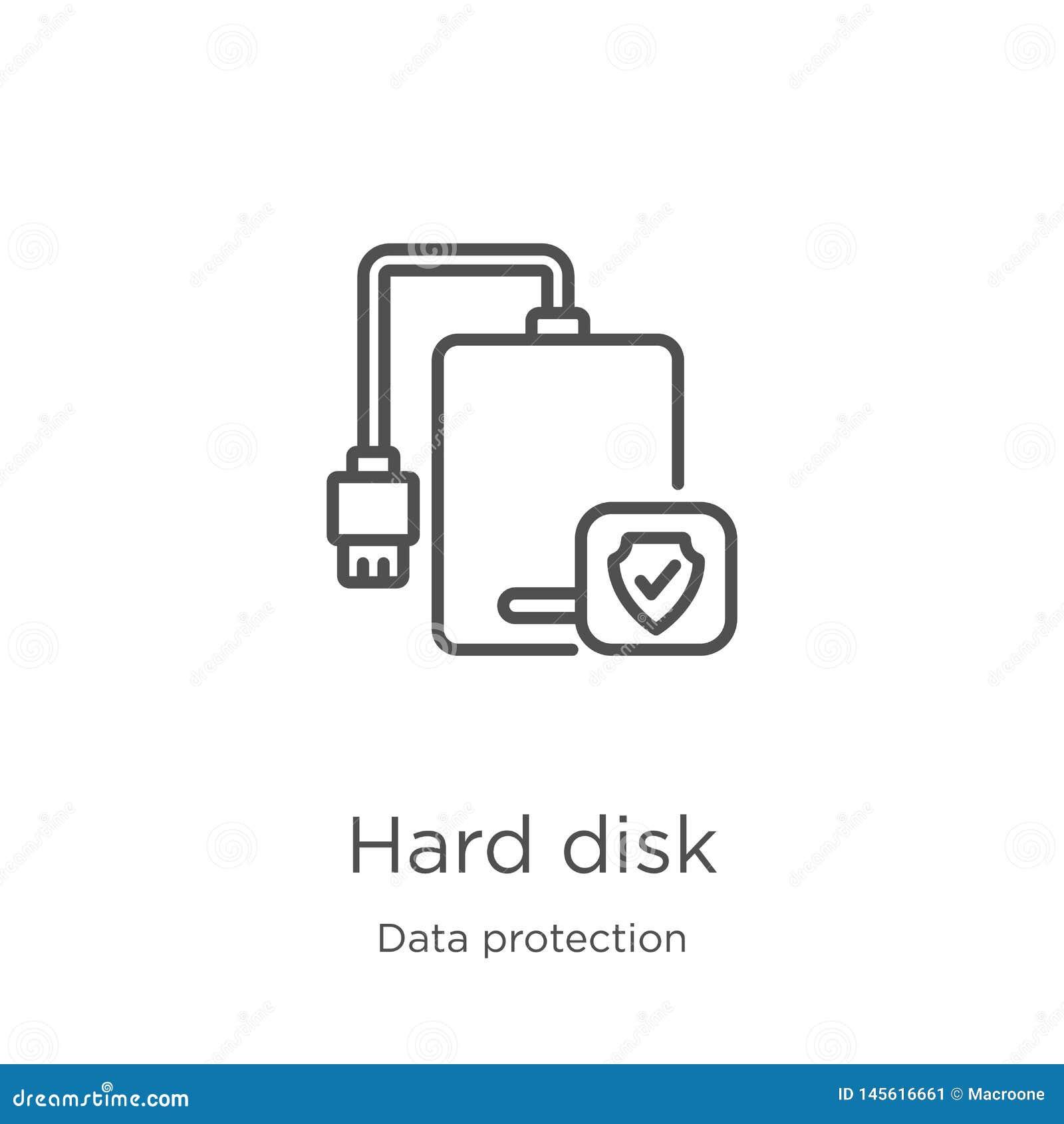 Vetor do ícone do disco rígido da coleção da proteção de dados Linha fina ilustra??o do vetor do ?cone do esbo?o do disco r?gido