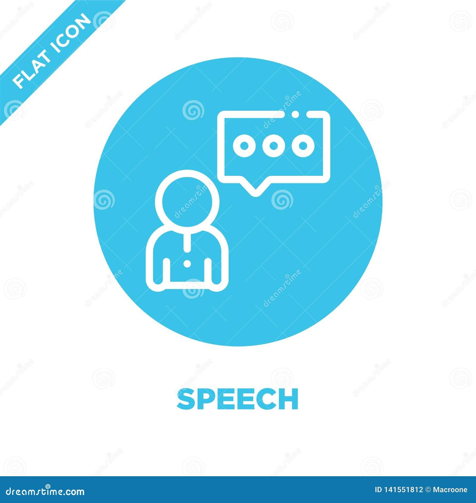 Vetor do ícone do discurso Linha fina ilustração do vetor do ícone do esboço do discurso símbolo do discurso para o uso na Web e