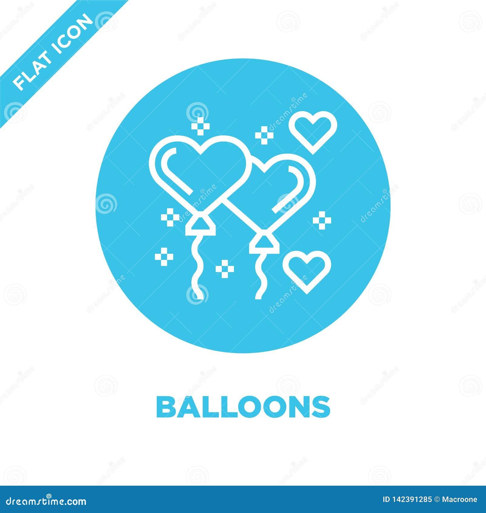 Vetor do ícone dos balões da coleção dos elementos da caridade Linha fina ilustração do vetor do ícone do esboço dos balões Símbo