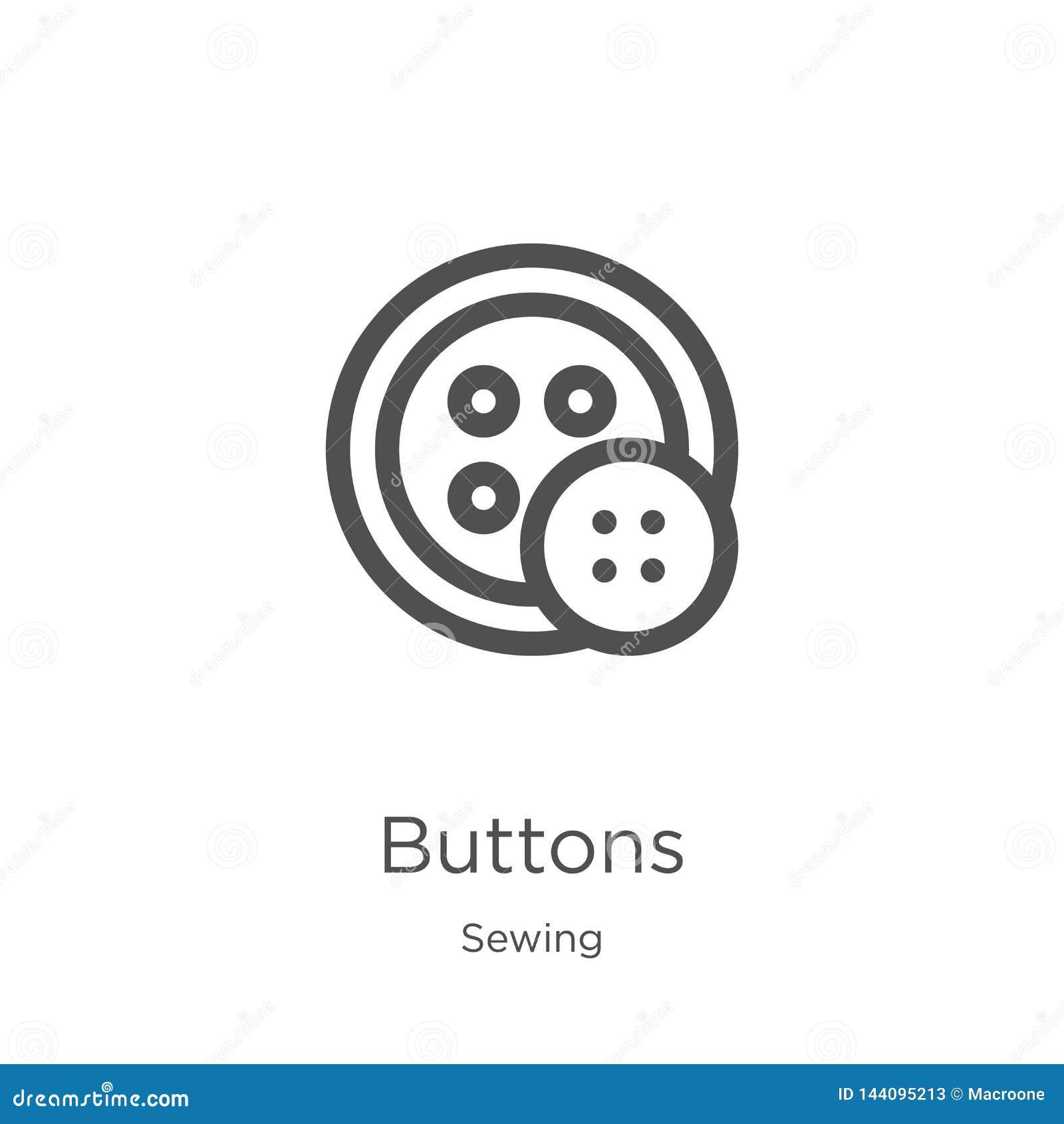 Vetor do ícone dos botões de costurar a coleção Linha fina ilustração do vetor do ícone do esboço dos botões Esboço, linha fina í