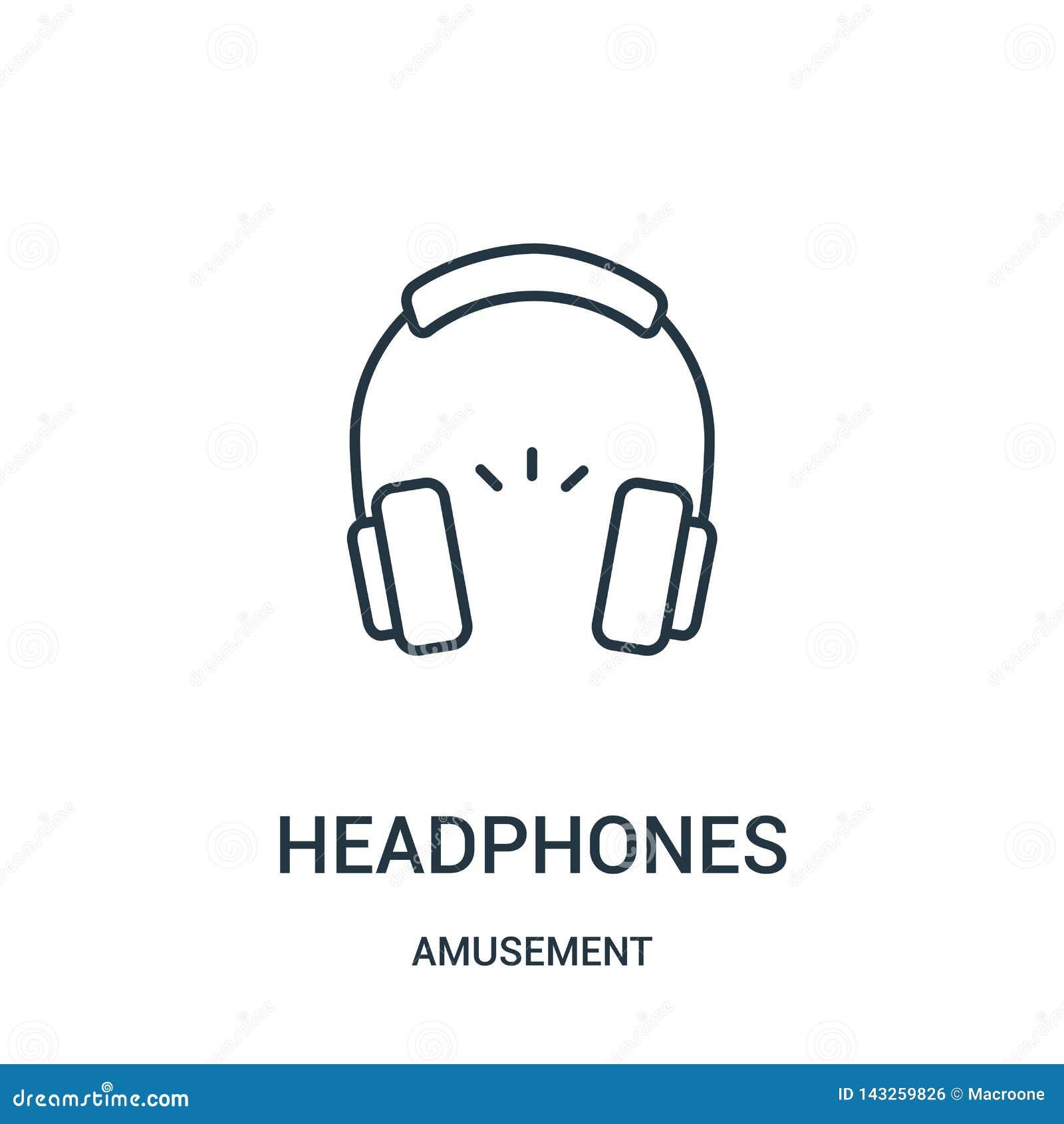 Vetor do ícone dos fones de ouvido da coleção do divertimento Linha fina ilustra??o do vetor do ?cone do esbo?o dos fones de ouvi