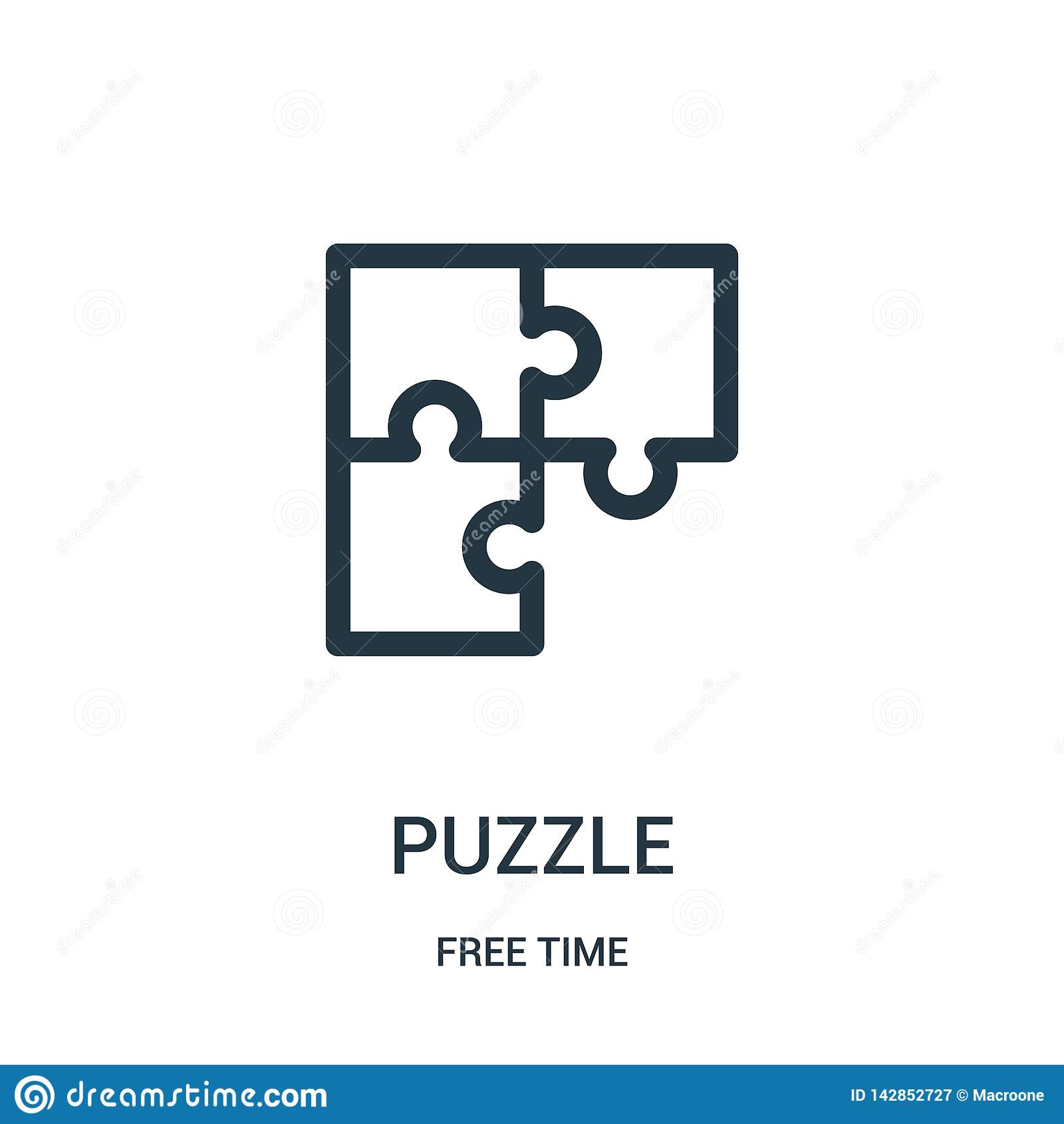 Vetor do ícone do enigma da coleção do tempo livre Linha fina ilustração do vetor do ícone do esboço do enigma Símbolo linear par