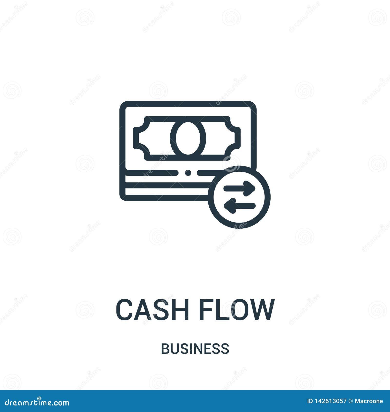 Vetor do ícone do fluxo de caixa da coleção do negócio Linha fina ilustração do vetor do ícone do esboço do fluxo de caixa S?mbol