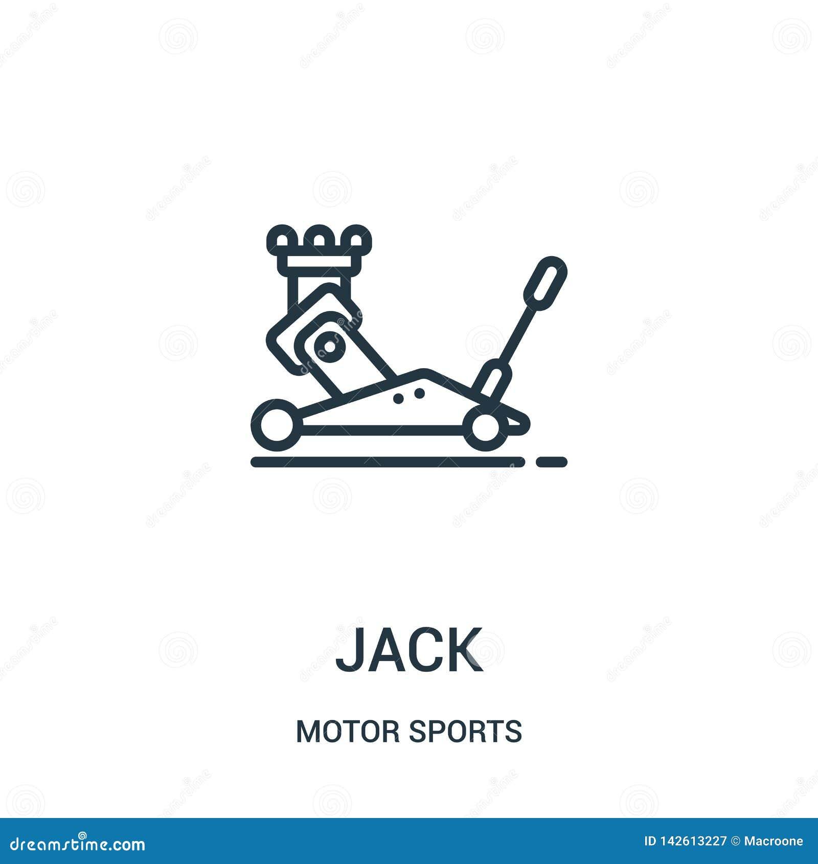 Vetor do ícone do jaque da coleção dos esportes automóveis Linha fina ilustra??o do vetor do ?cone do esbo?o do jaque S?mbolo lin