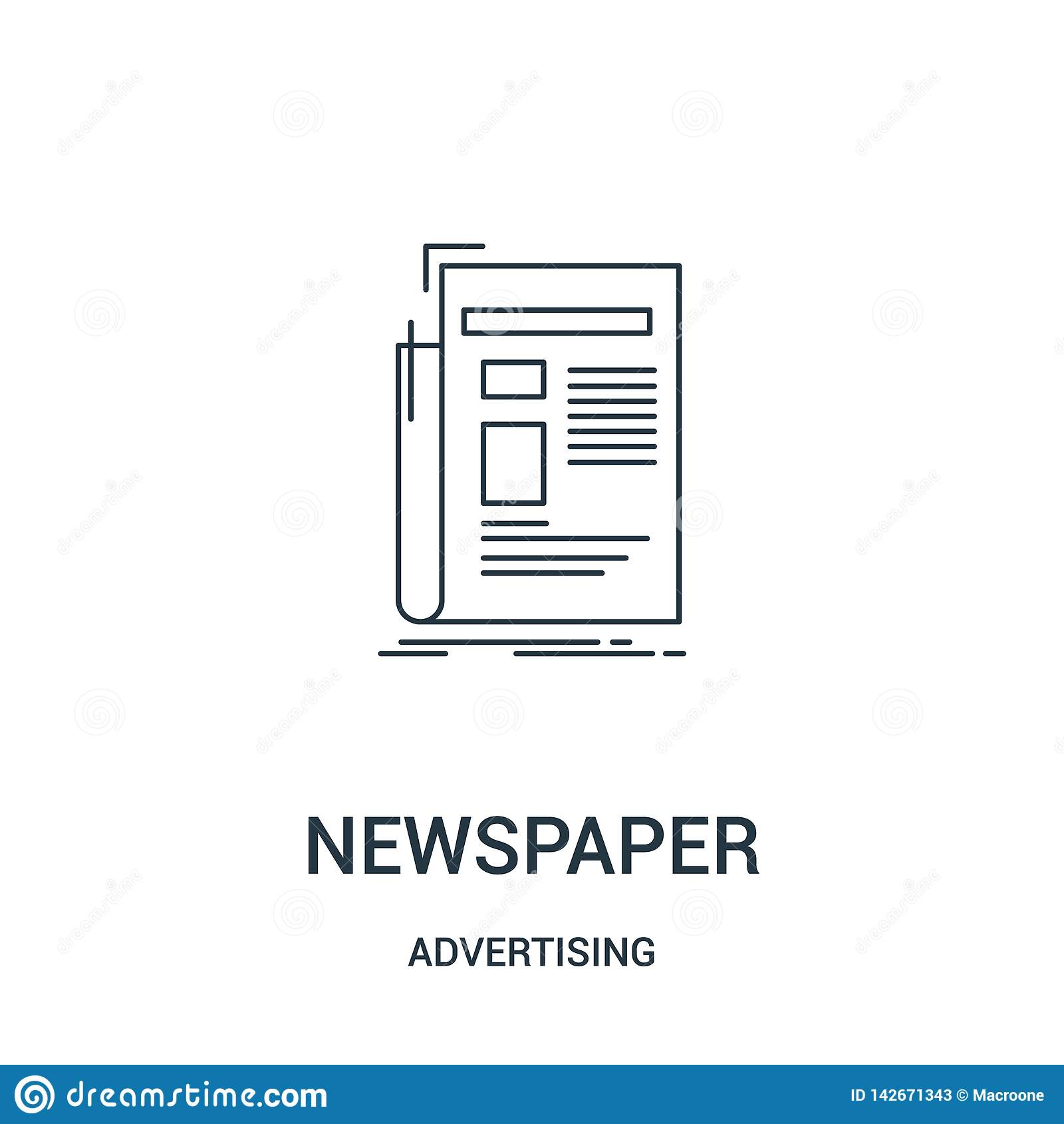 Vetor do ícone do jornal de anunciar a coleção Linha fina ilustração do vetor do ícone do esboço do jornal Símbolo linear para o