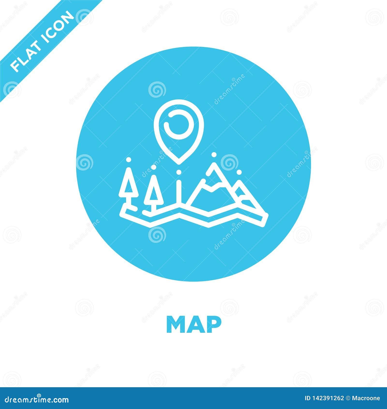 Vetor do ícone do mapa da coleção de acampamento Linha fina ilustração do vetor do ícone do esboço do mapa Símbolo linear para o