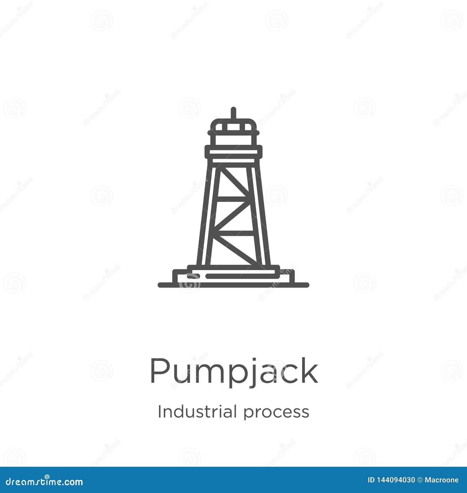 Vetor do ícone do pumpjack da coleção do processo industrial Linha fina ilustração do vetor do ícone do esboço do pumpjack Esboço