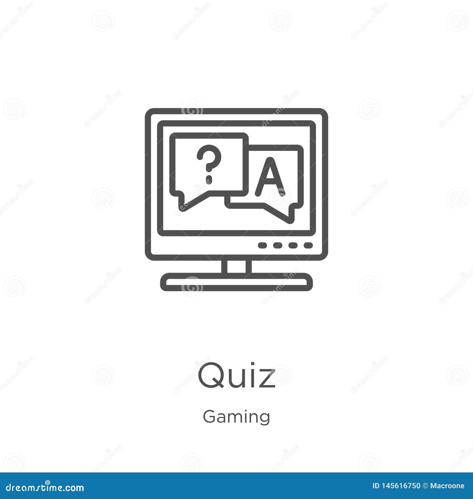Vetor do ícone do questionário da coleção do jogo Linha fina ilustração do vetor do ícone do esboço do questionário Esboço, linha