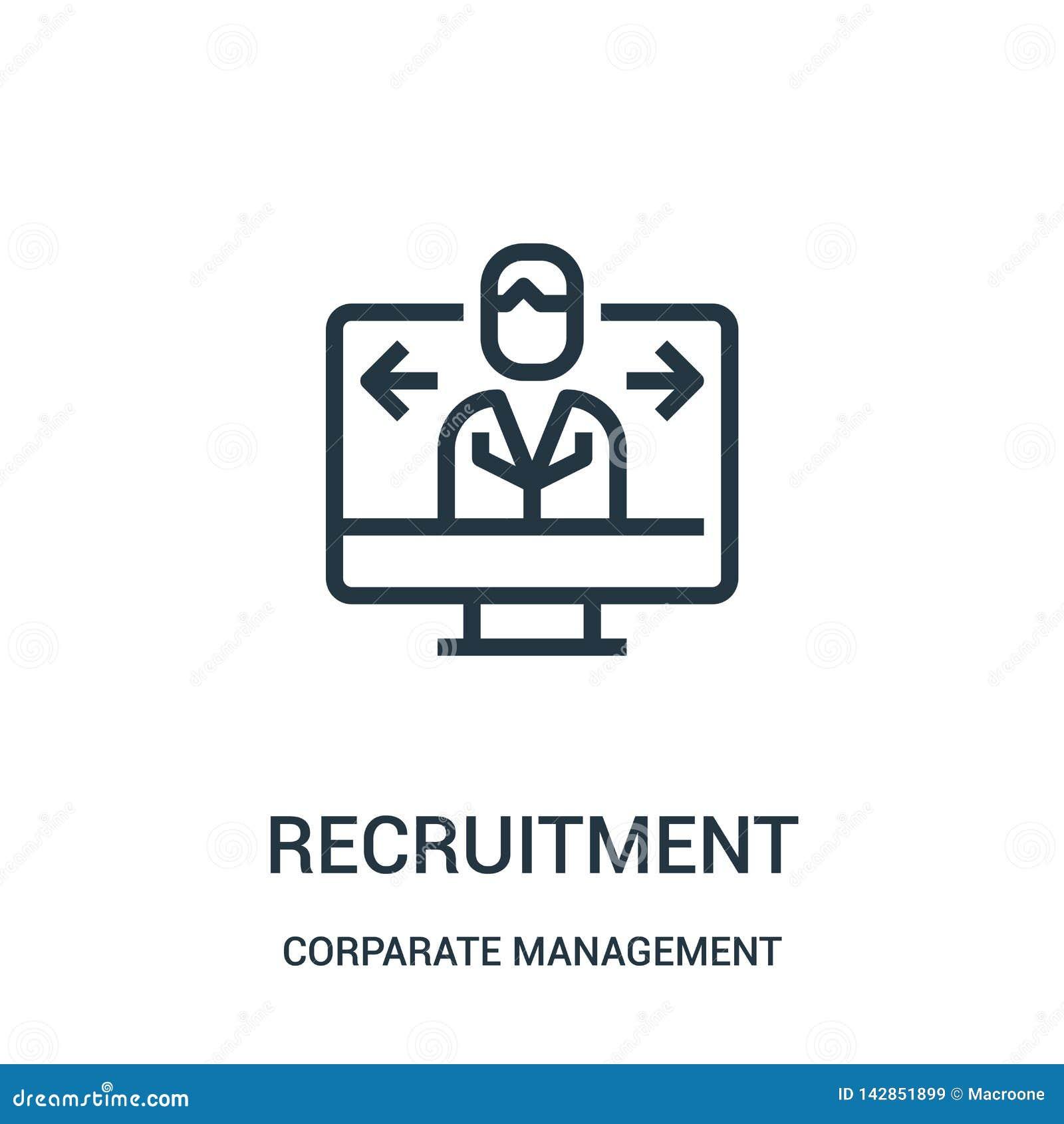 Vetor do ícone do recrutamento da coleção da gestão incorporada Linha fina ilustração do vetor do ícone do esboço do recrutamento