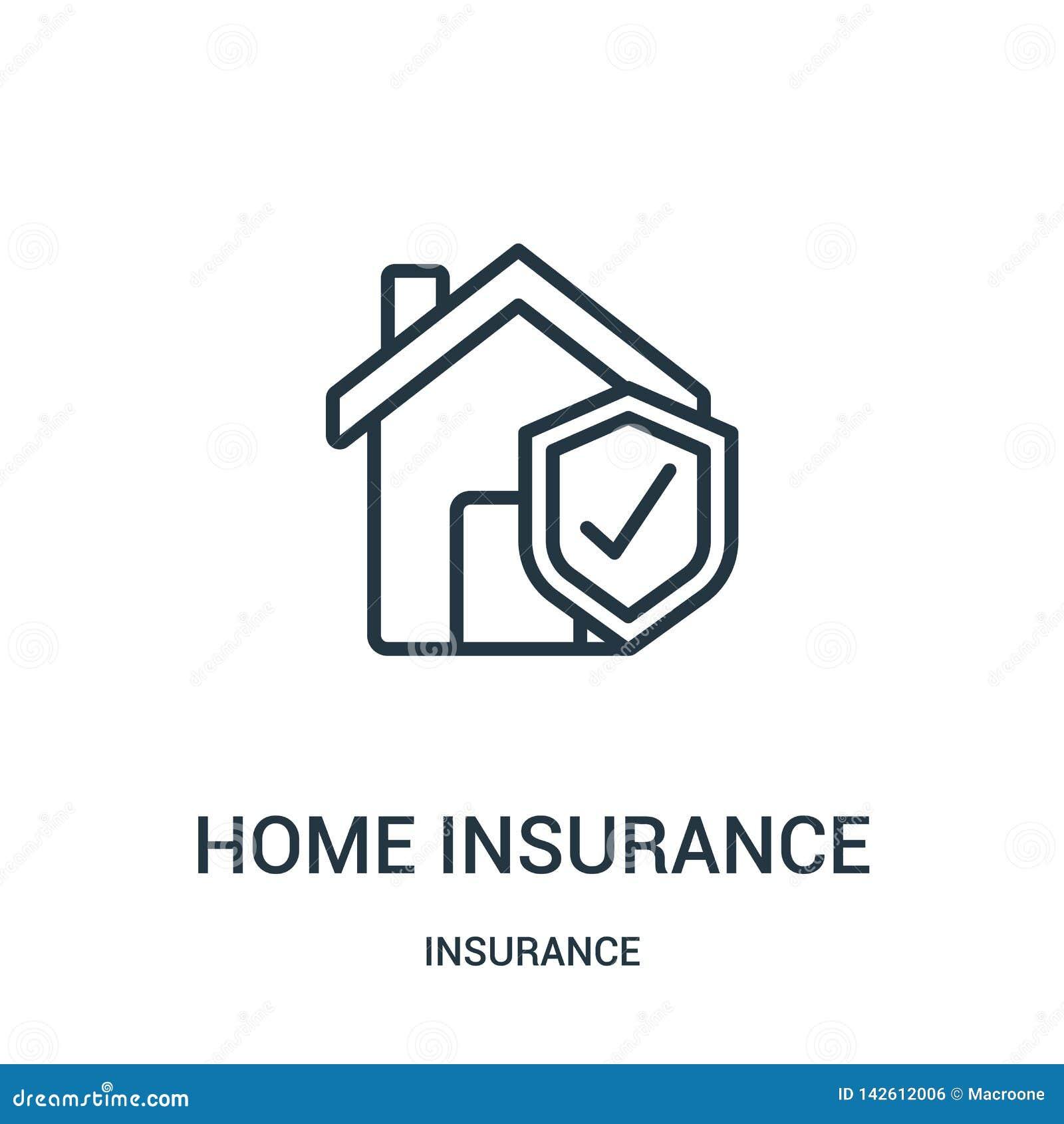 Vetor do ícone do seguro da casa da coleção do seguro Linha fina ilustração do vetor do ícone do esboço do seguro da casa S?mbolo