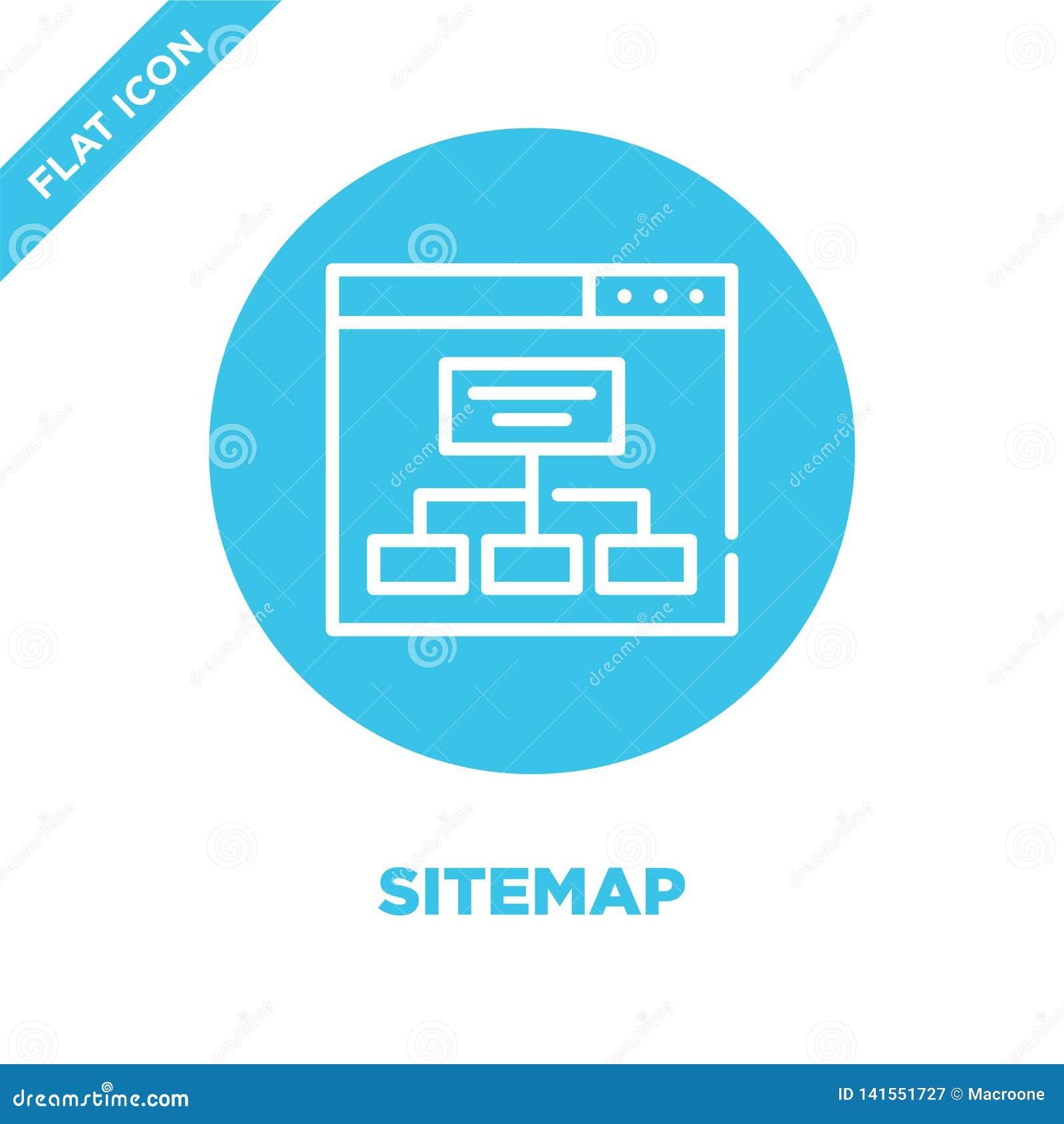 Vetor do ícone do sitemap Linha fina ilustração do vetor do ícone do esboço do sitemap símbolo do sitemap para o uso na Web e em