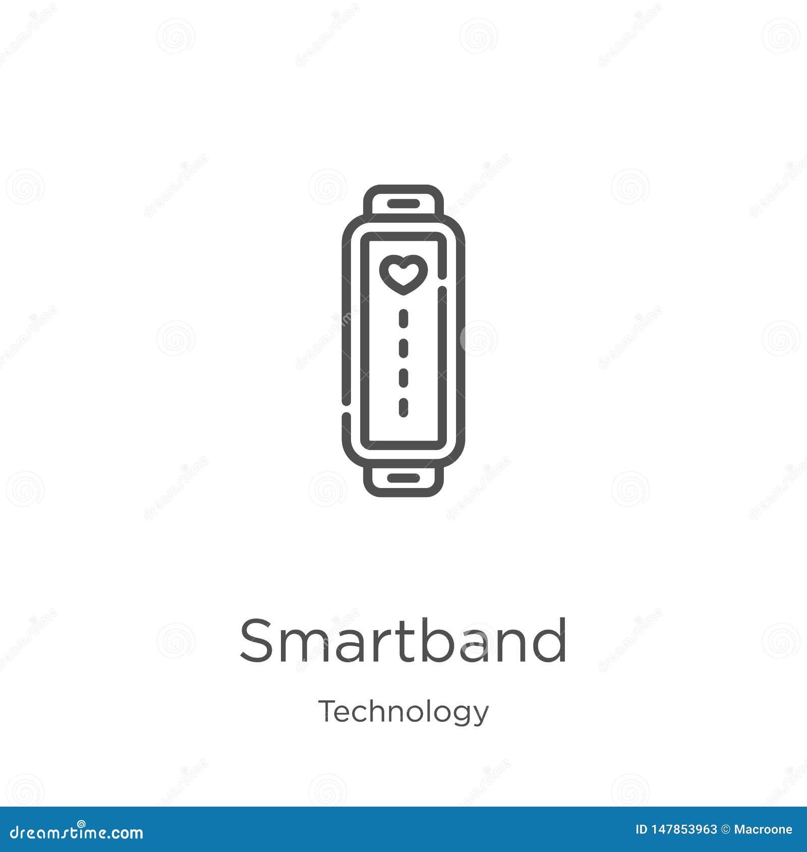 Vetor do ícone do smartband da coleção da tecnologia Linha fina ilustração do vetor do ícone do esboço do smartband Esbo?o, linha