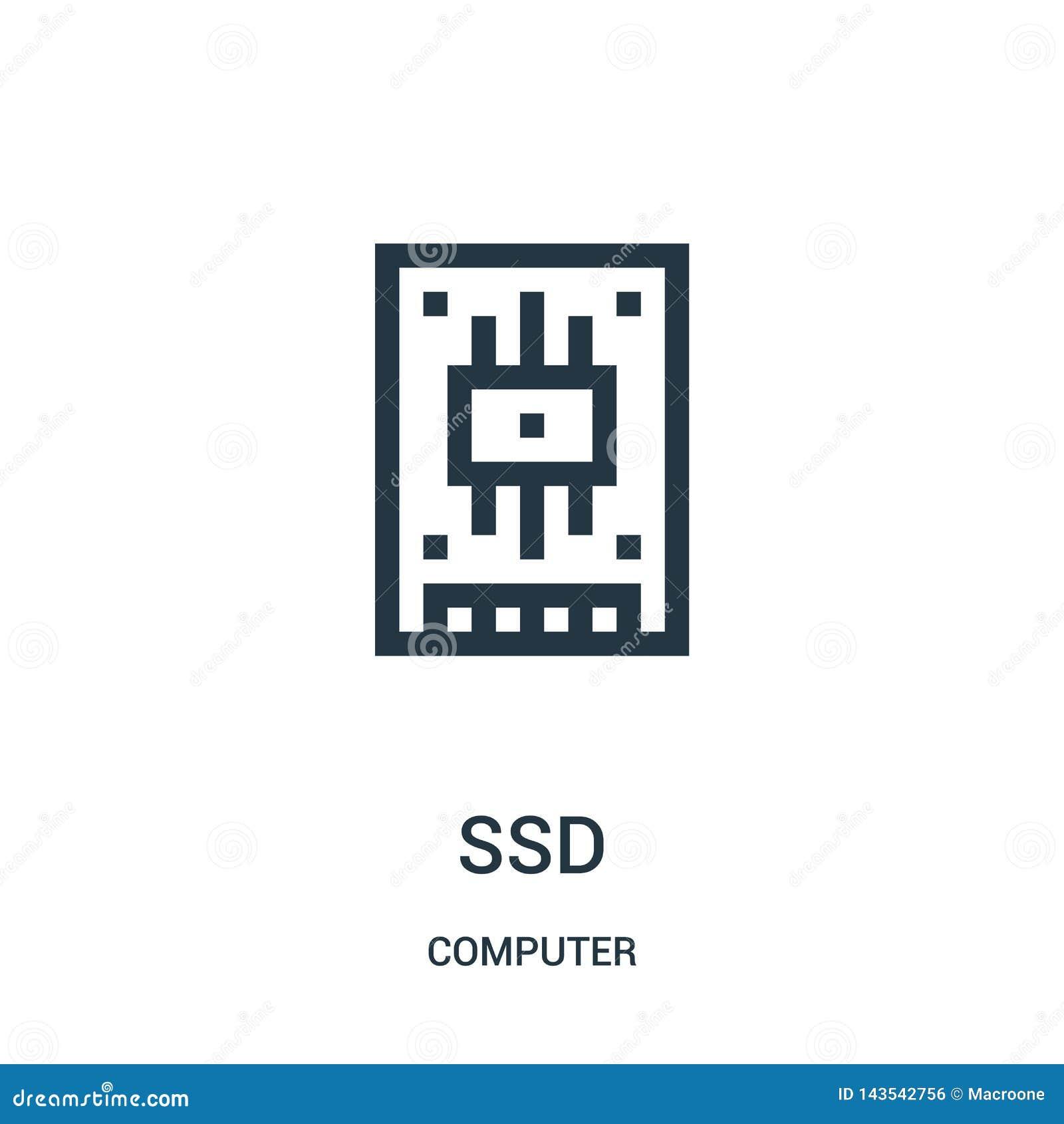 Vetor do ícone do ssd da coleção do computador Linha fina ilustração do vetor do ícone do esboço do ssd