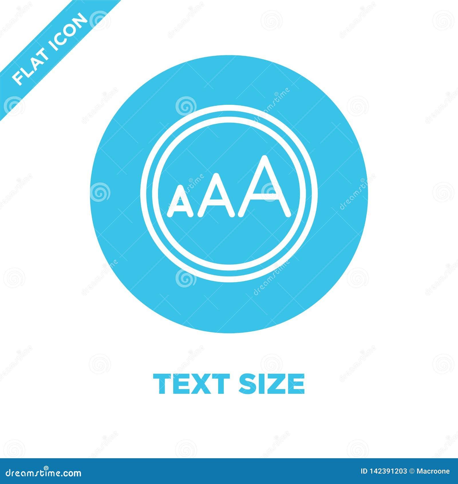 Vetor do ícone do tamanho do texto da coleção da acessibilidade Linha fina ilustração do vetor do ícone do esboço do tamanho do t