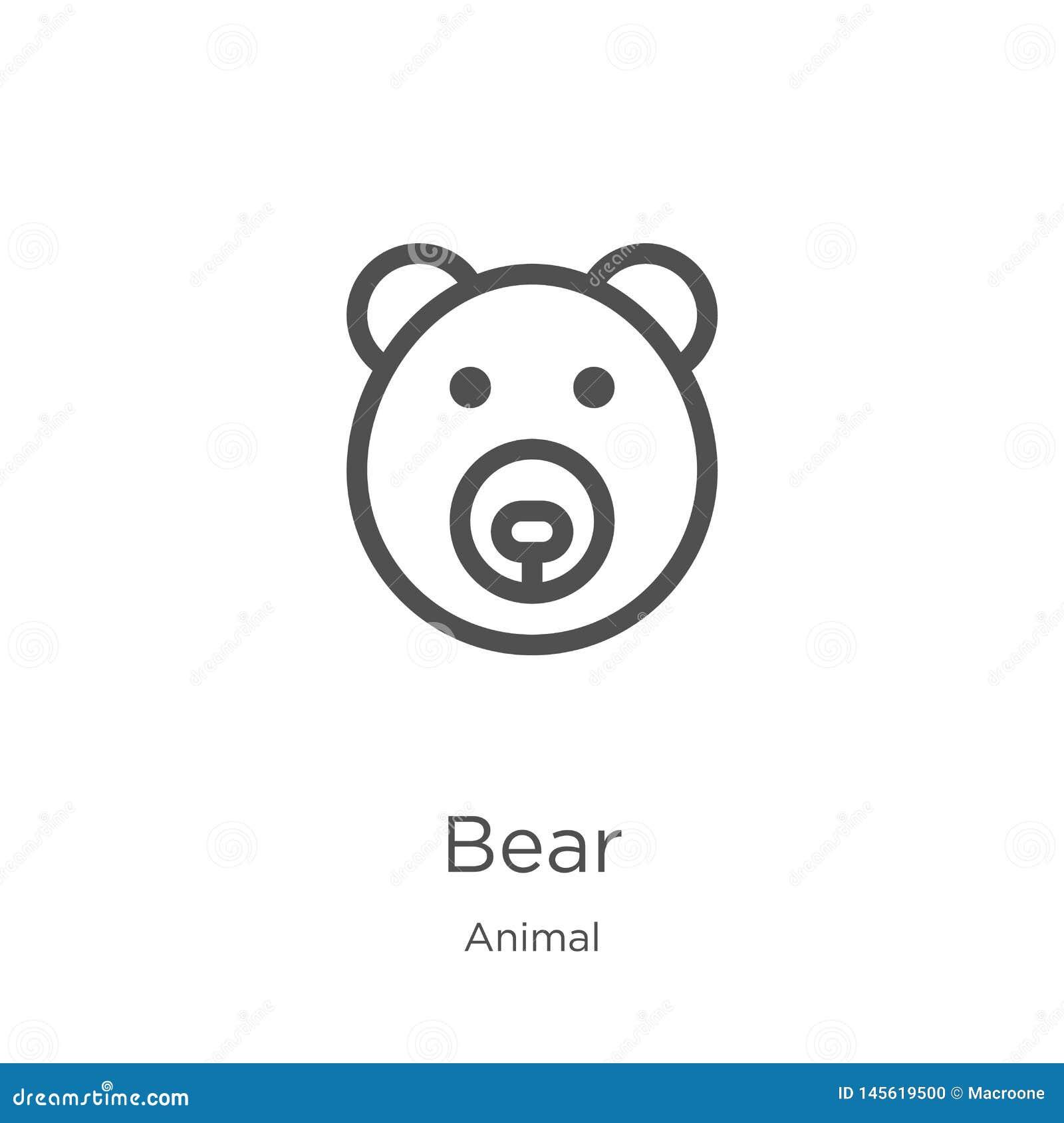 Vetor do ícone do urso da coleção animal Linha fina ilustra??o do vetor do ?cone do esbo?o do urso Esbo?o, linha fina ?cone do ur
