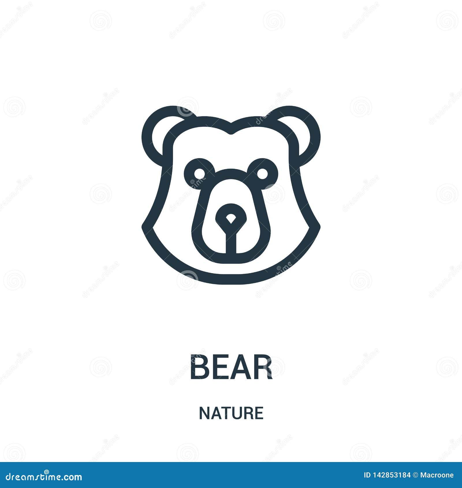 Vetor do ícone do urso da coleção da natureza Linha fina ilustração do vetor do ícone do esboço do urso Símbolo linear para o uso