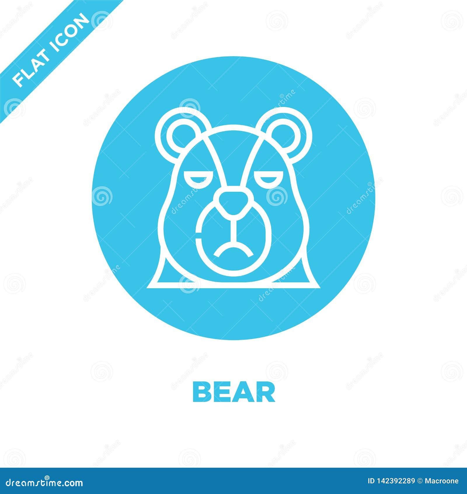 Vetor do ícone do urso da coleção principal animal Linha fina ilustração do vetor do ícone do esboço do urso Símbolo linear para