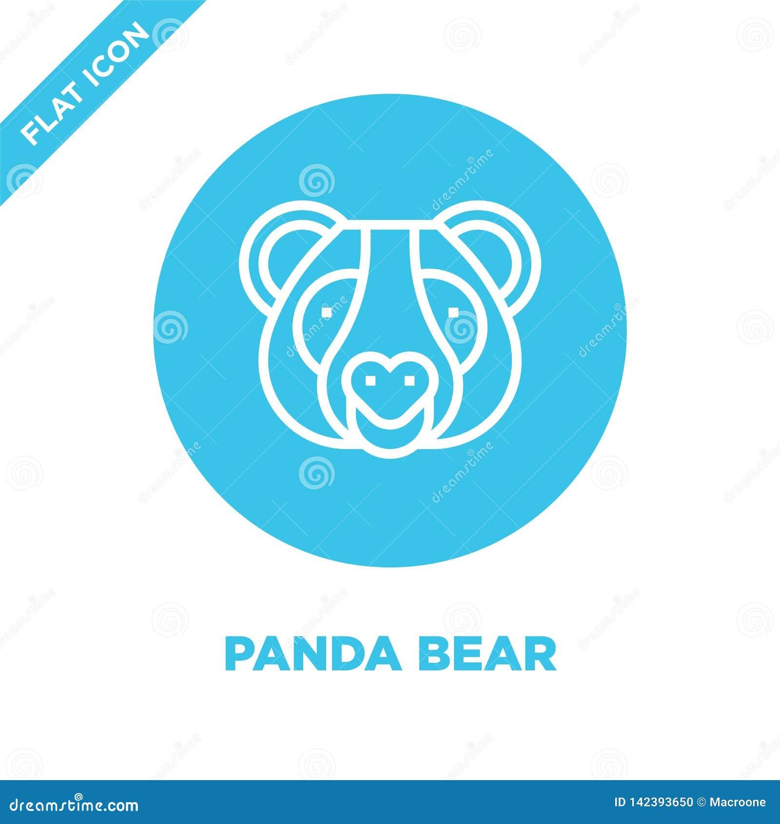 Vetor do ícone do urso de panda da coleção principal animal Linha fina ilustração do vetor do ícone do esboço do urso de panda Sí