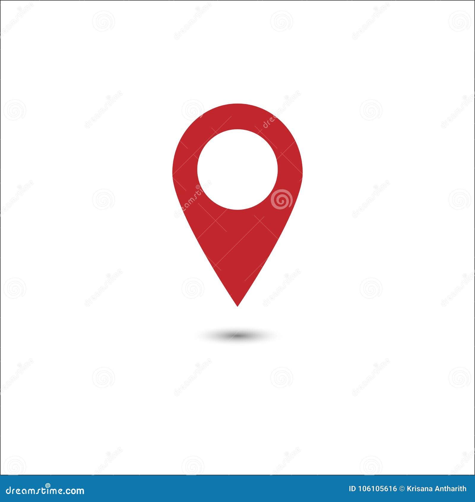 Vetor do ícone vermelho do ponteiro do mapa Símbolo de lugar de GPS Projeto liso
