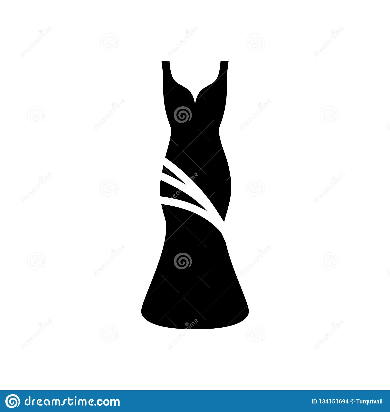Vetor do ícone do vestido isolado no fundo branco, sinal do vestido, símbolos da cerveja