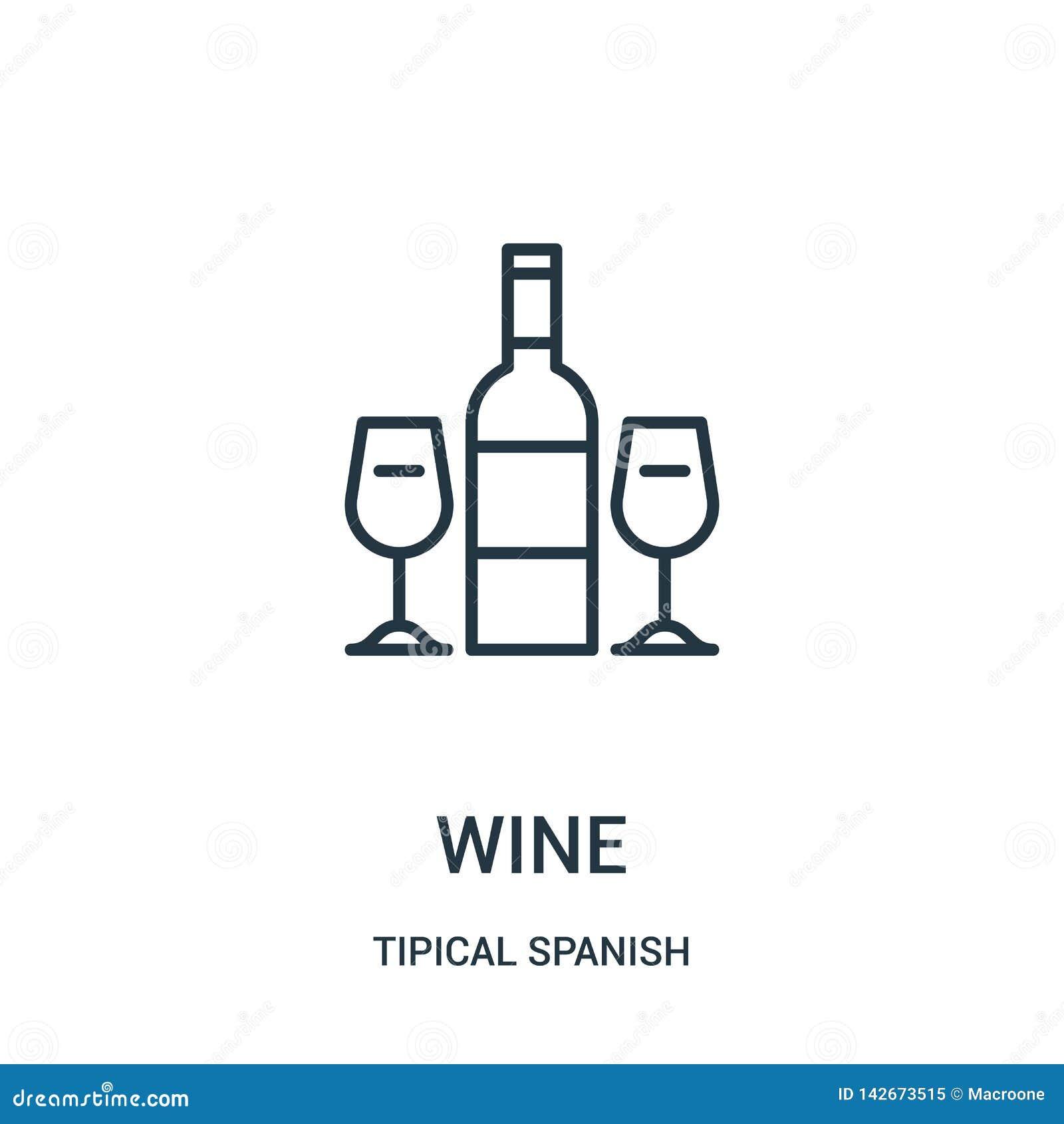Vetor do ícone do vinho da coleção espanhola tipical Linha fina ilustração do vetor do ícone do esboço do vinho Símbolo linear pa