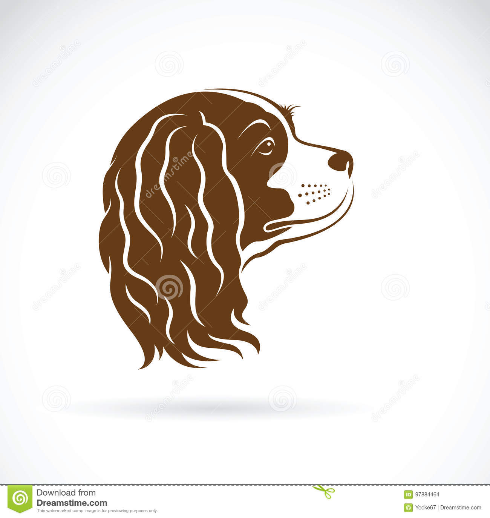 Vetor do cão descuidado do rei Charles Spaniel no fundo branco