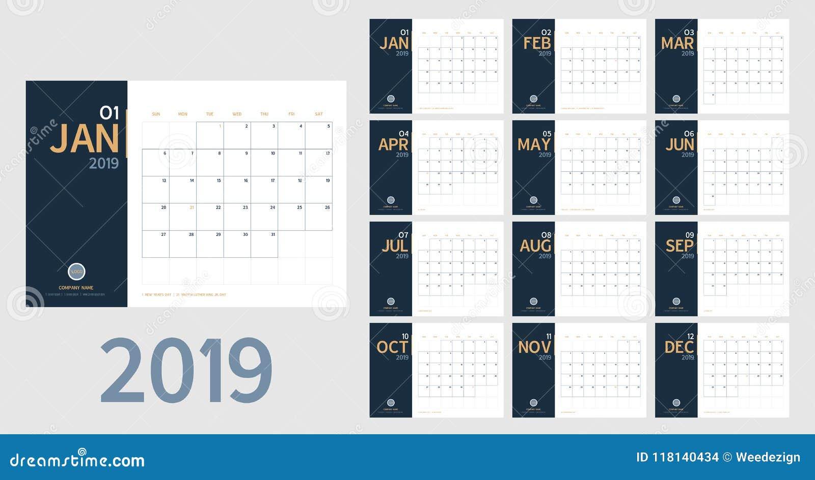 Vetor do calendário do ano 2019 novo na tabela mínima limpa s simples